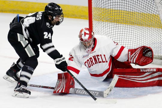 Cornell's Austin McGrath, right, blocks a shot by Providence's Bryan Lemos, left, during the first period of the NCAA Division I East Regional final men's hockey game in Providence, R.I., Sunday, March 31, 2019. (AP Photo/Michael Dwyer)
