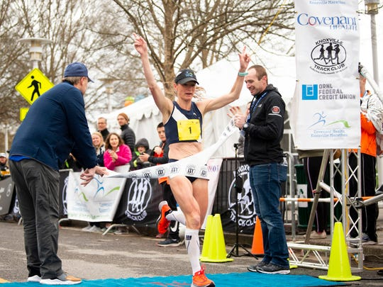 Gina Rouse of Knoxville wins her fourth consecutive Covenant Health Knoxville Marathon on Sunday, with a time of 2 hours, 50 minutes and 15 seconds.