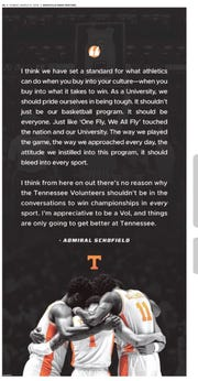 Tennessee basketball player Admiral Schofield had a message for Tennessee fans in a full page ad in the Knoxville News Sentinel on Sunday to cap his career with the Vols.
