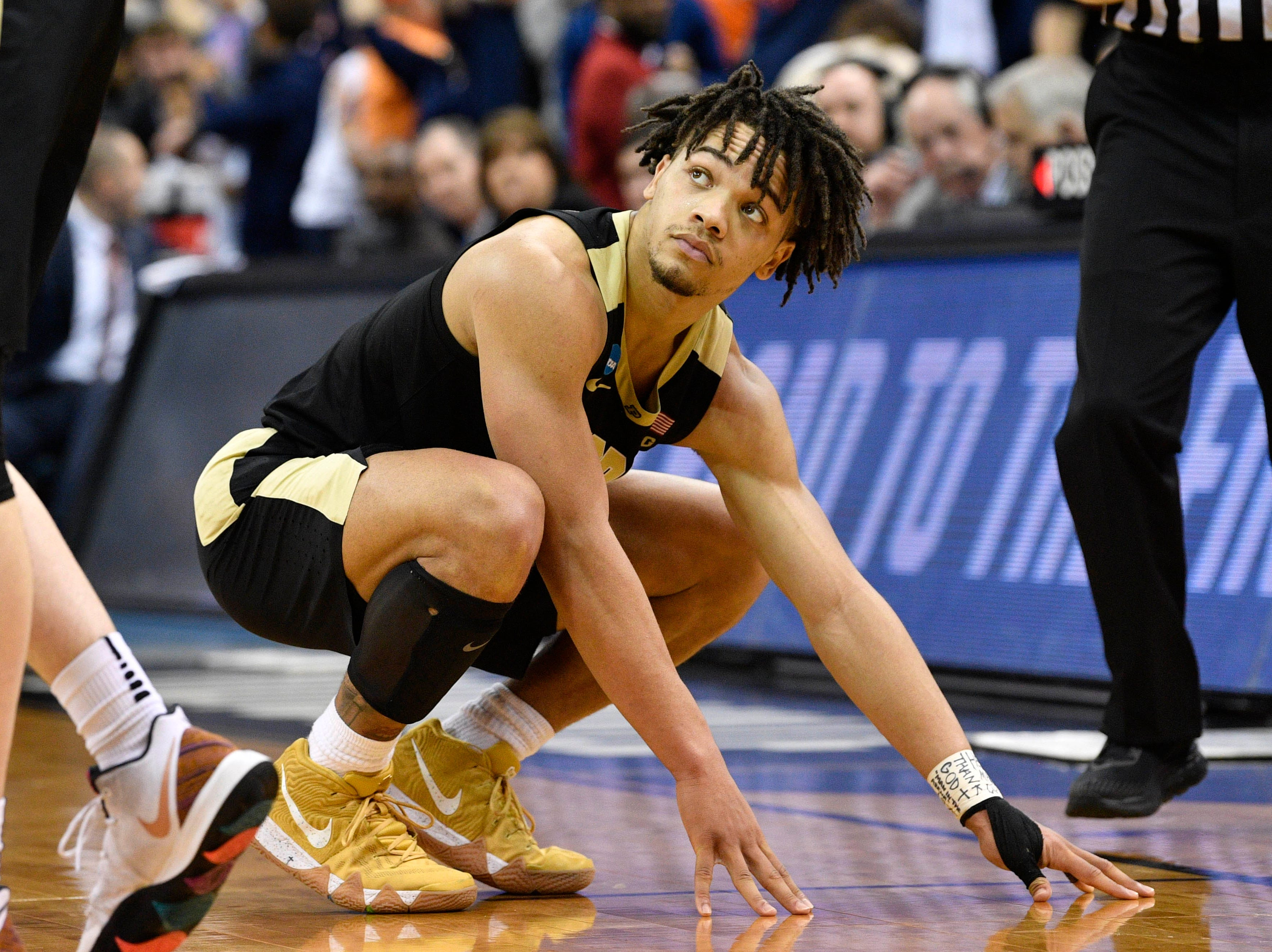 Mar 30, 2019; Louisville, KY, United States; Purdue Boilermakers guard Carsen Edwards (3) reacts during overtime in the championship game against the Virginia Cavaliers of the south regional of the 2019 NCAA Tournament at KFC Yum Center. Mandatory Credit: Jamie Rhodes-USA TODAY Sports