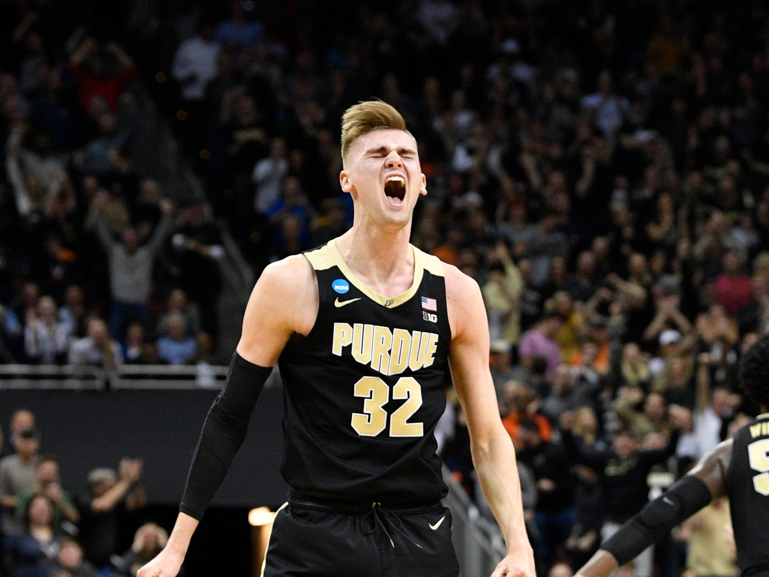 Mar 30, 2019; Louisville, KY, United States; Purdue Boilermakers center Matt Haarms (32) reacts during the second half in the championship game against the Virginia Cavaliers of the south regional of the 2019 NCAA Tournament at KFC Yum Center. Mandatory Credit: Jamie Rhodes-USA TODAY Sports