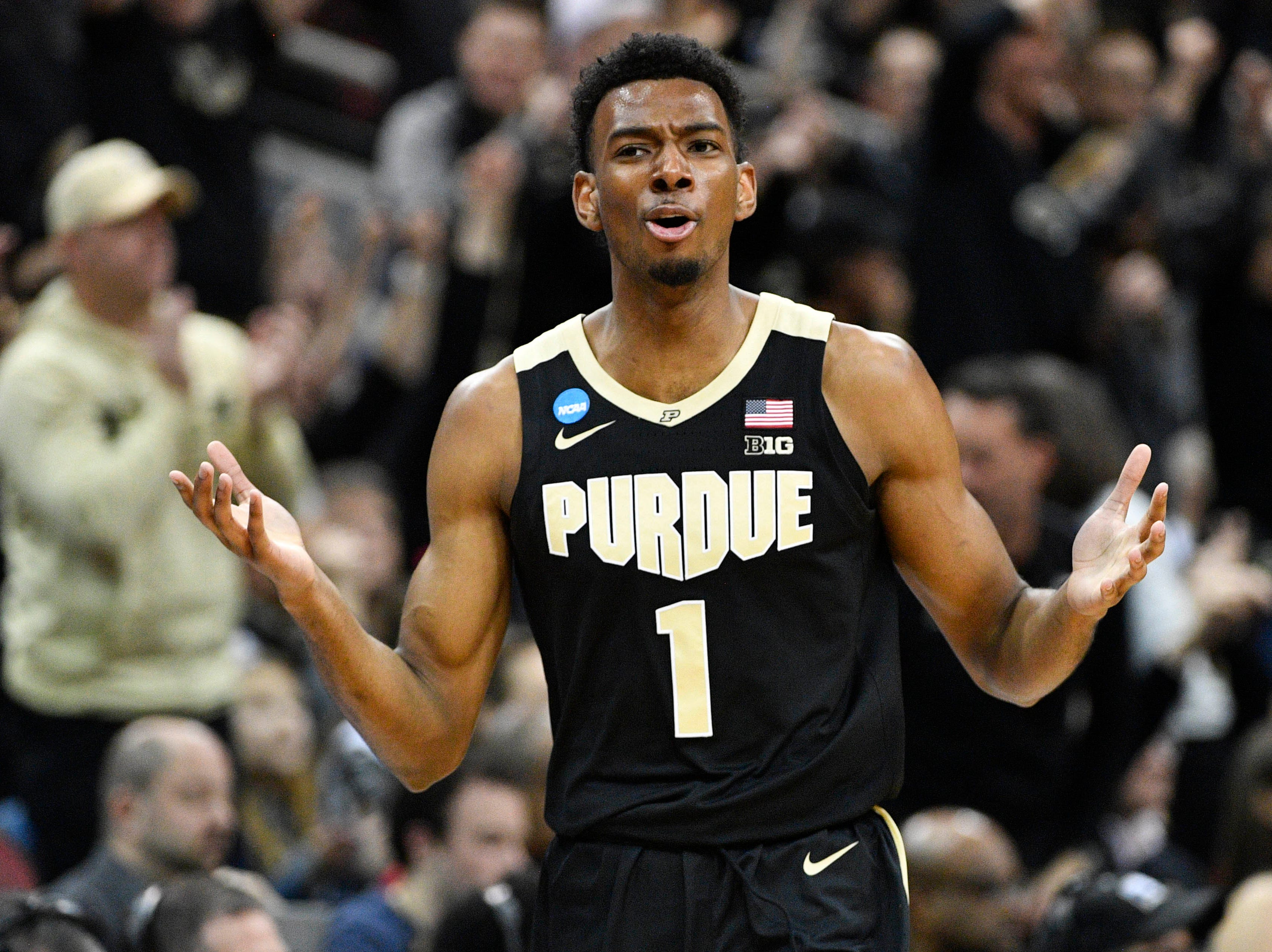 Mar 30, 2019; Louisville, KY, United States; Purdue Boilermakers forward Aaron Wheeler (1) reacts during the first half in the championship game against the Virginia Cavaliers of the south regional of the 2019 NCAA Tournament at KFC Yum Center. Mandatory Credit: Jamie Rhodes-USA TODAY Sports