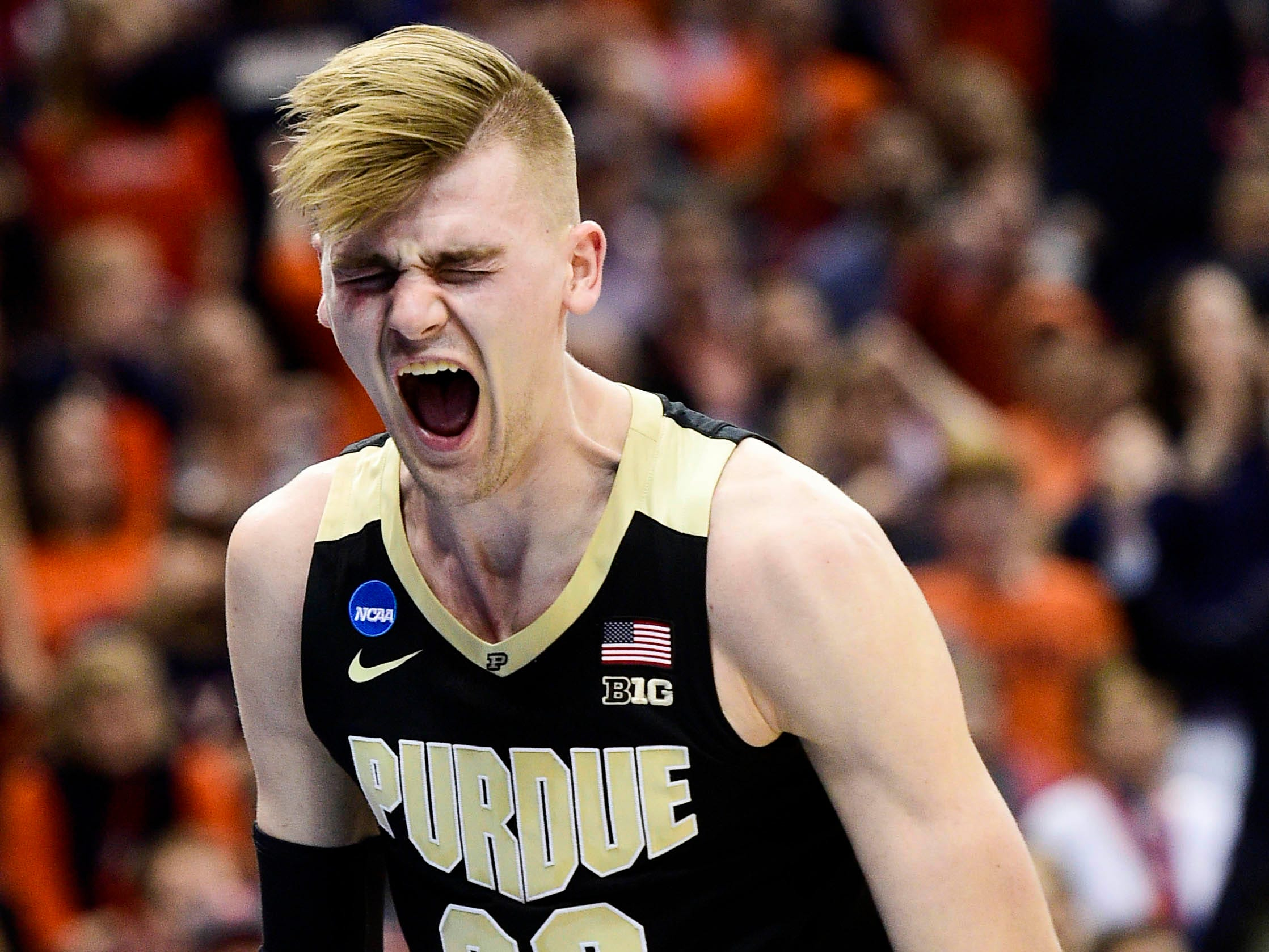 Mar 30, 2019; Louisville, KY, United States; Purdue Boilermakers center Matt Haarms (32) reacts during the first half in the championship game against the Virginia Cavaliers of the south regional of the 2019 NCAA Tournament at KFC Yum Center. Mandatory Credit: Thomas J. Russo-USA TODAY Sports