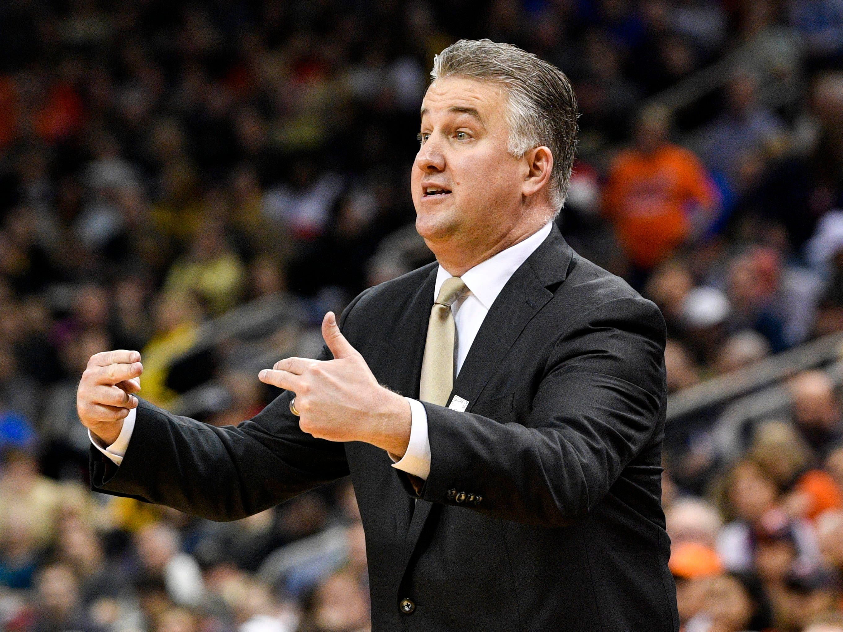 Mar 30, 2019; Louisville, KY, United States; Purdue Boilermakers head coach Matt Painter reacts during the first half in the championship game against the Virginia Cavaliers of the south regional of the 2019 NCAA Tournament at KFC Yum Center. Mandatory Credit: Jamie Rhodes-USA TODAY Sports
