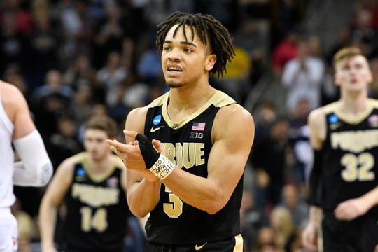 Mar 30, 2019; Louisville, KY, United States; Purdue Boilermakers guard Carsen Edwards (3) reacts during the second half in the championship game against the Virginia Cavaliers of the south regional of the 2019 NCAA Tournament at KFC Yum Center. Mandatory Credit: Jamie Rhodes-USA TODAY Sports