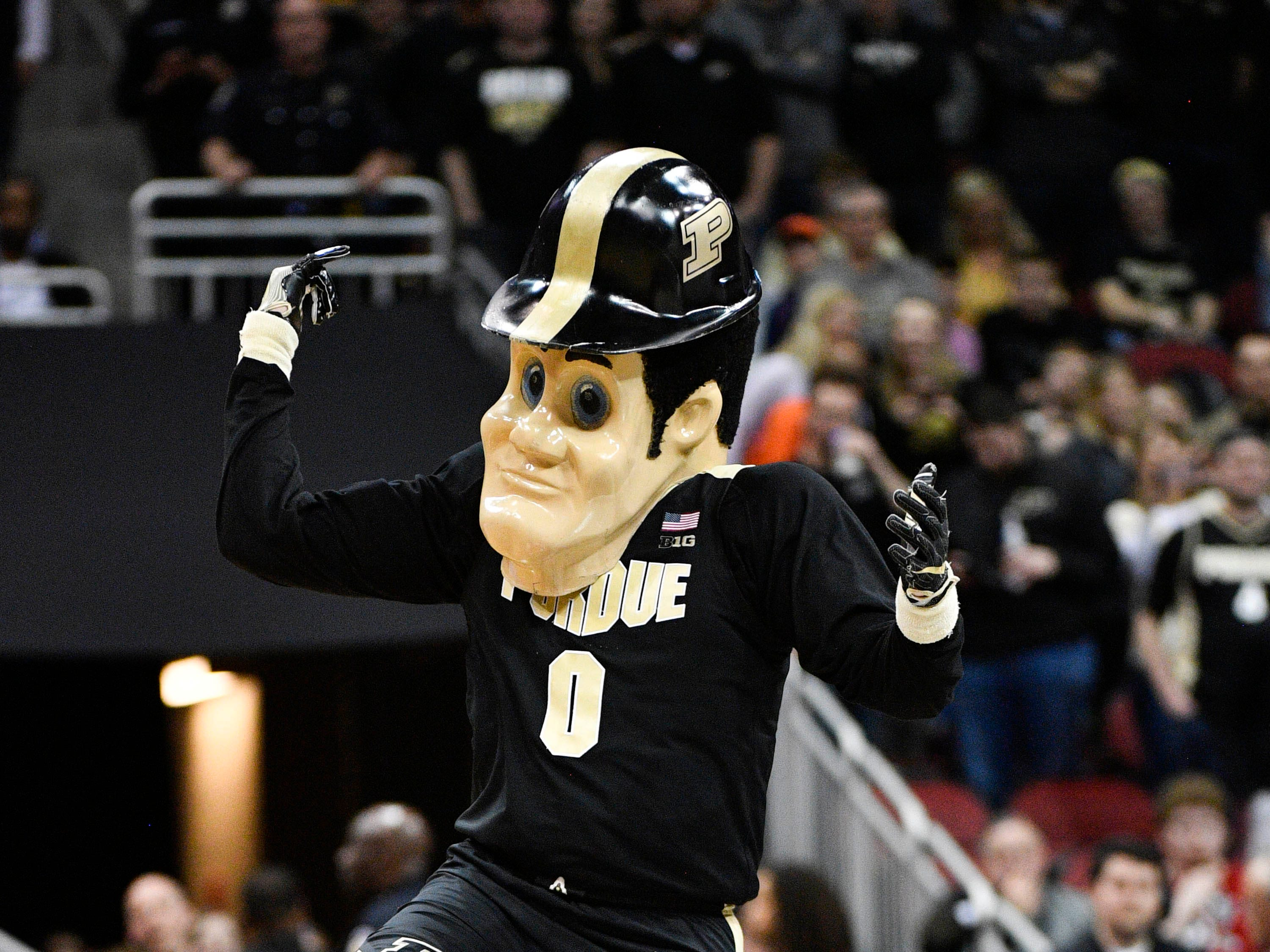 Mar 30, 2019; Louisville, KY, United States; Purdue Boilermakers mascot performs during the first half in the championship game against the Virginia Cavaliers of the south regional of the 2019 NCAA Tournament at KFC Yum Center. Mandatory Credit: Jamie Rhodes-USA TODAY Sports