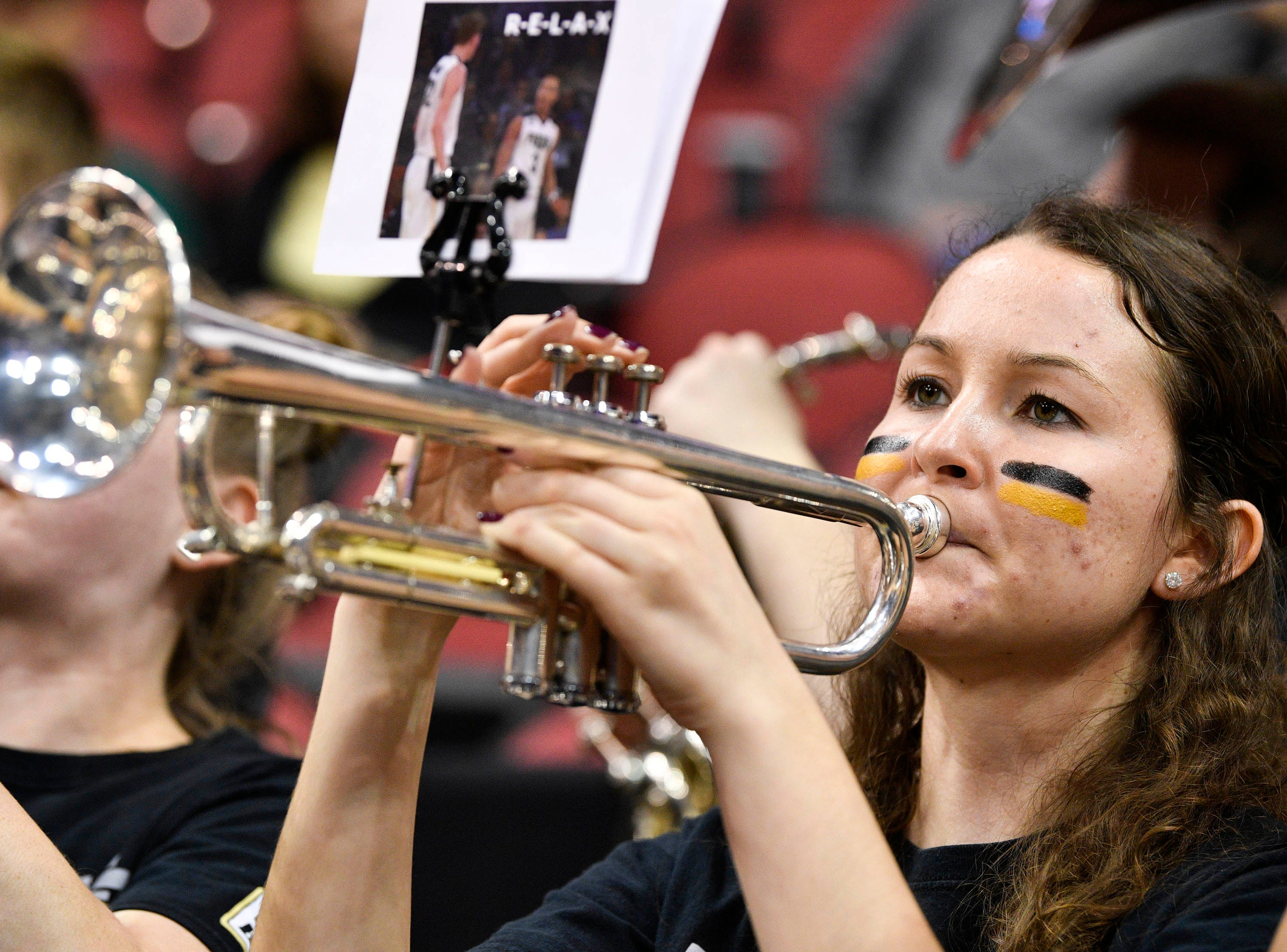 Mar 30, 2019; Louisville, KY, United States; Purdue Boilermakers band member plays before the championship game against the Virginia Cavaliers of the south regional of the 2019 NCAA Tournament at KFC Yum Center. Mandatory Credit: Jamie Rhodes-USA TODAY Sports