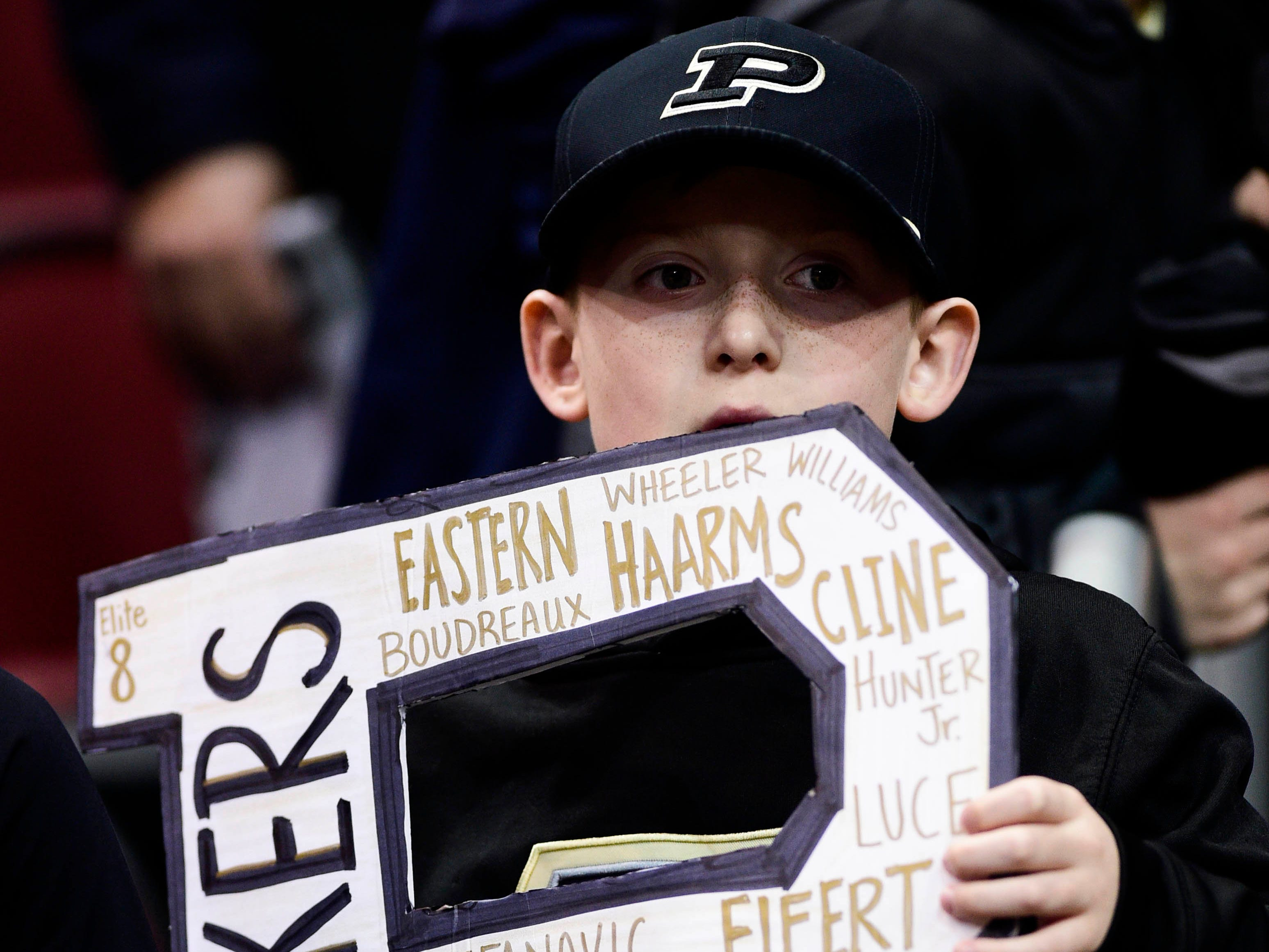 Mar 30, 2019; Louisville, KY, United States; Purdue Boilermakers fan holds a sign before the game against the Virginia Cavaliers in the championship game of the south regional of the 2019 NCAA Tournament at KFC Yum Center. Mandatory Credit: Thomas J. Russo-USA TODAY Sports