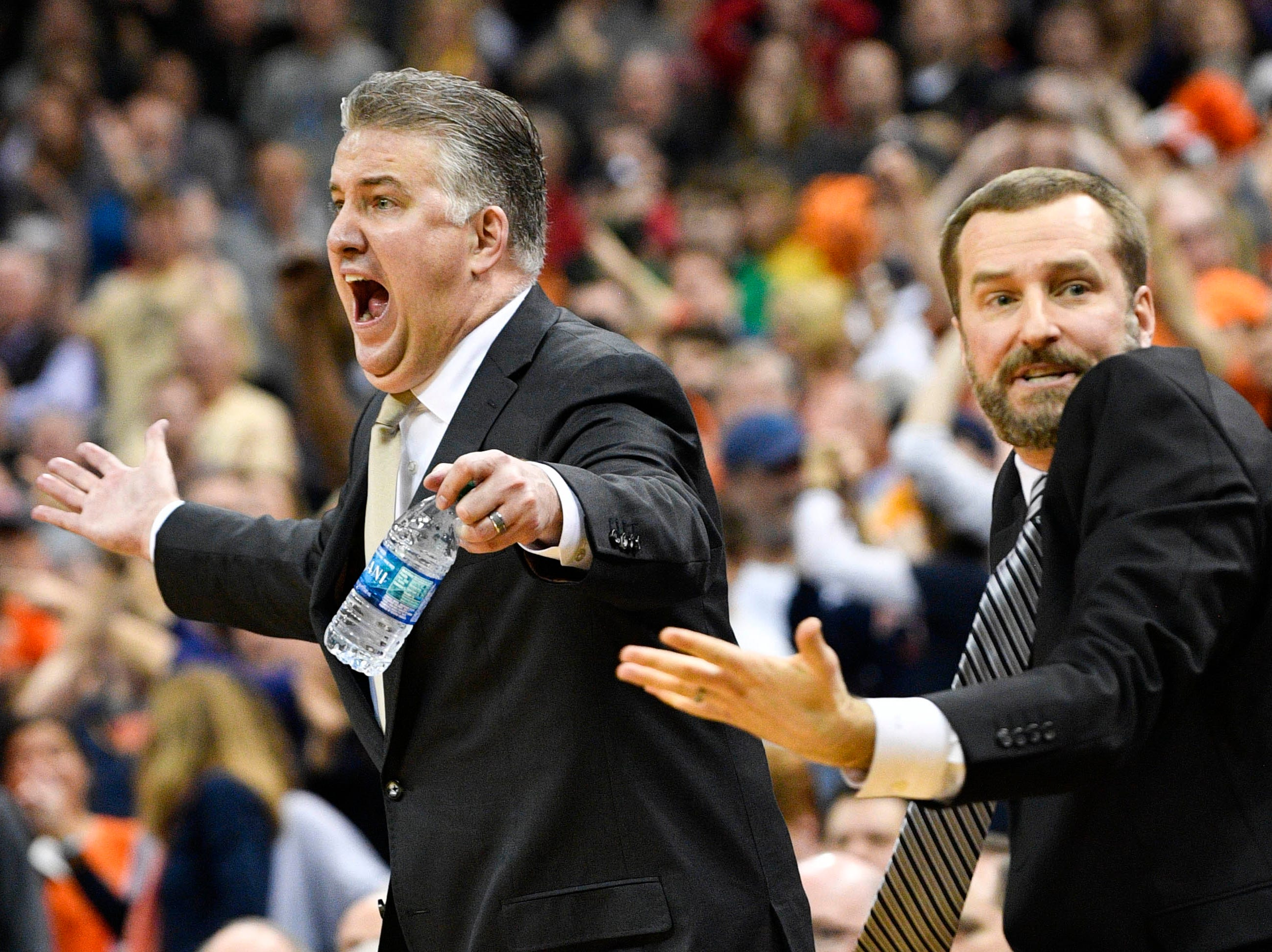 Mar 30, 2019; Louisville, KY, United States; Purdue Boilermakers head coach Matt Painter reacts during overtime in the championship game against the Virginia Cavaliers of the south regional of the 2019 NCAA Tournament at KFC Yum Center. Mandatory Credit: Jamie Rhodes-USA TODAY Sports