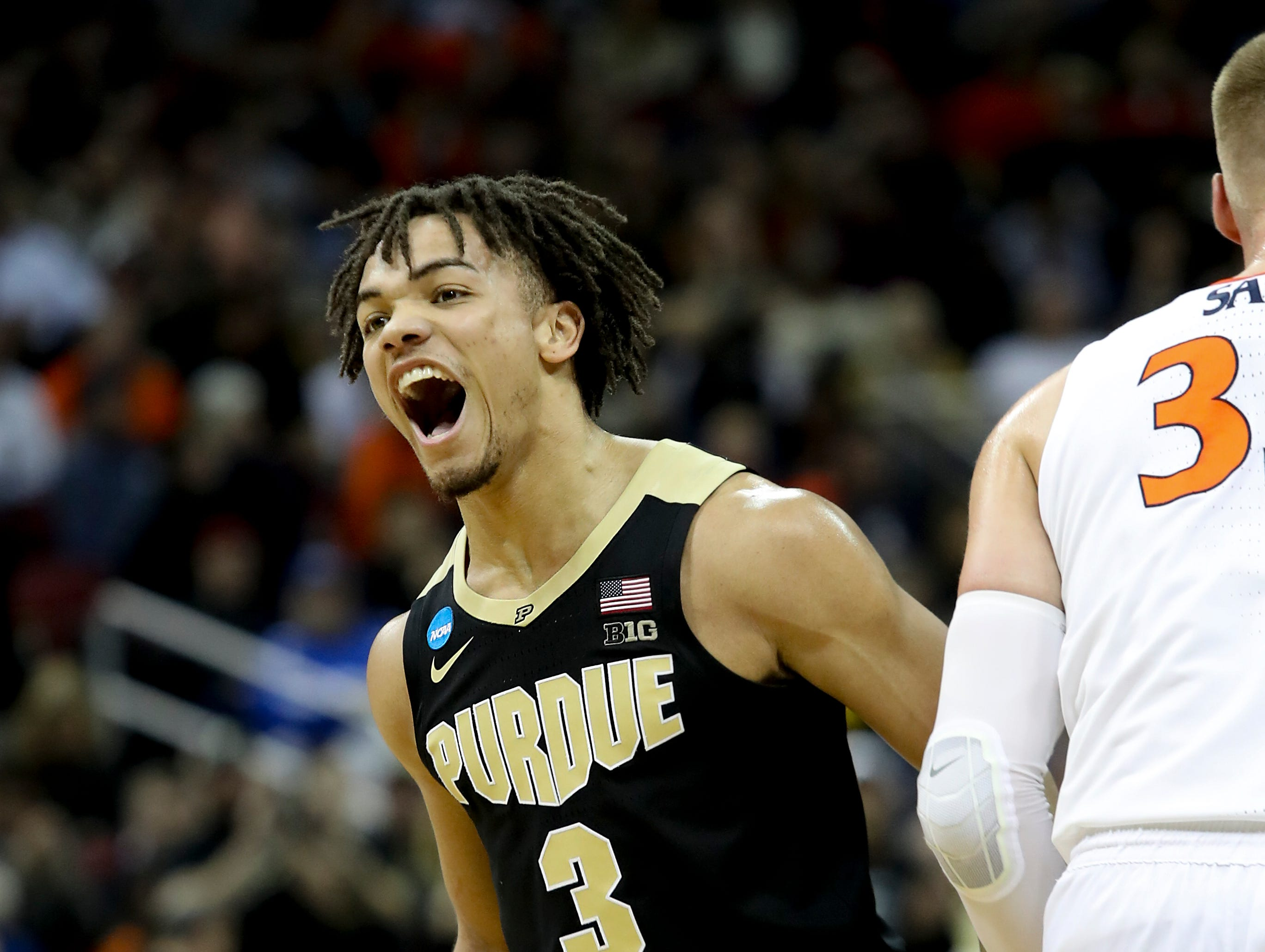 Purdue's Carsen Edwards celebrates after knocking down a three against Virginia on March 30 in the NCAA Elite 8.