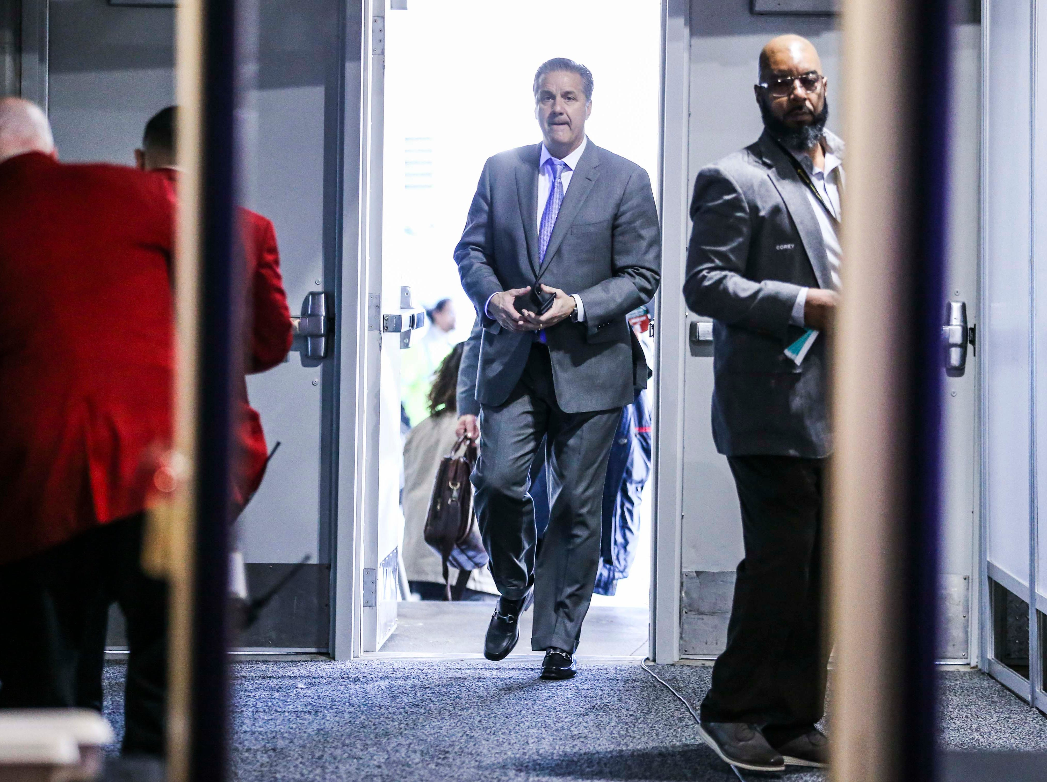 Kentucky coach John Calipari arrives at the Sprint Center in Kansas City. March 31, 2019