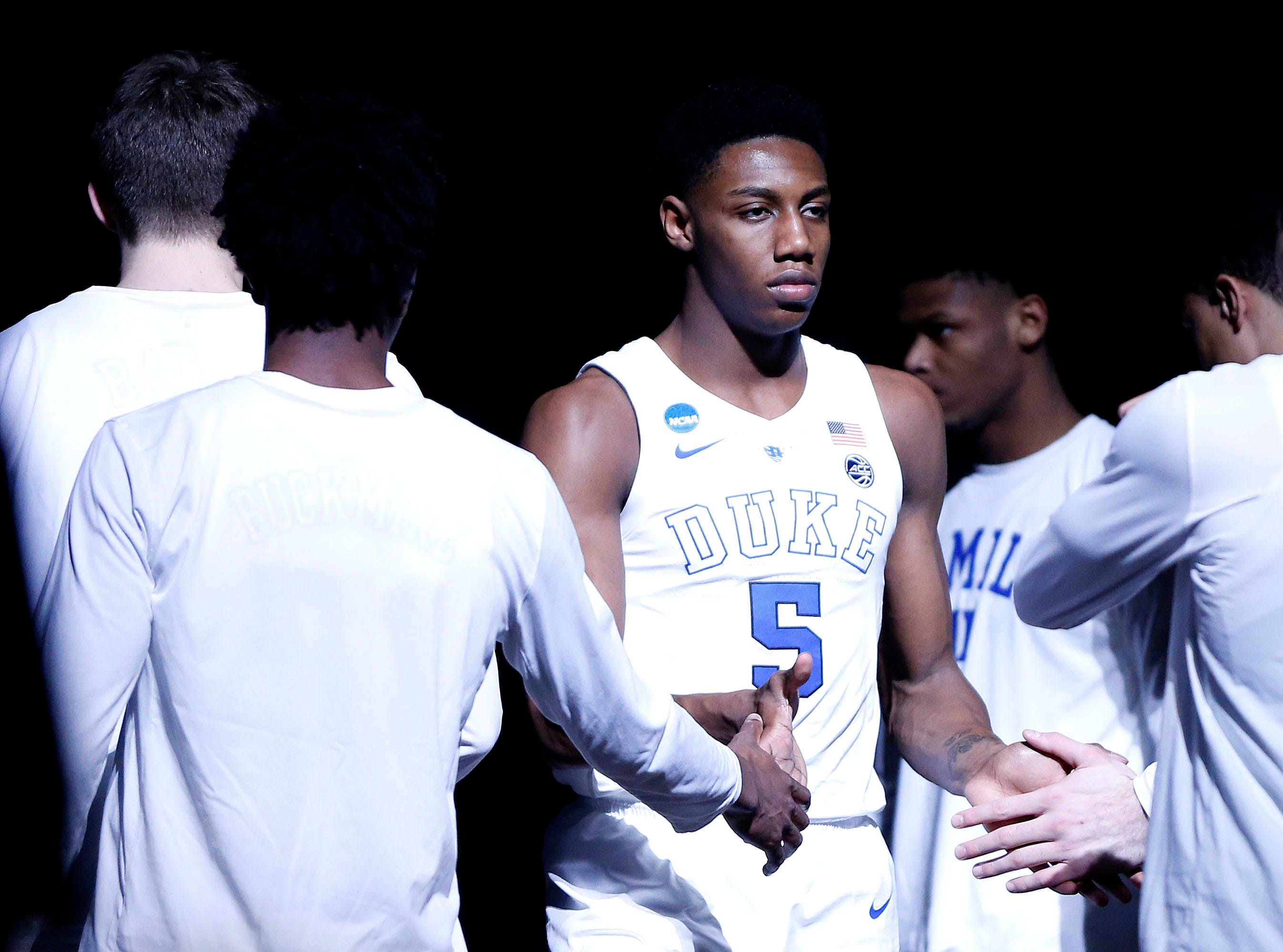 Duke Blue Devils forward RJ Barrett (5) is introduced before the against the Michigan State Spartans in the championship game of the east regional of the 2019 NCAA Tournament at Capital One Arena.