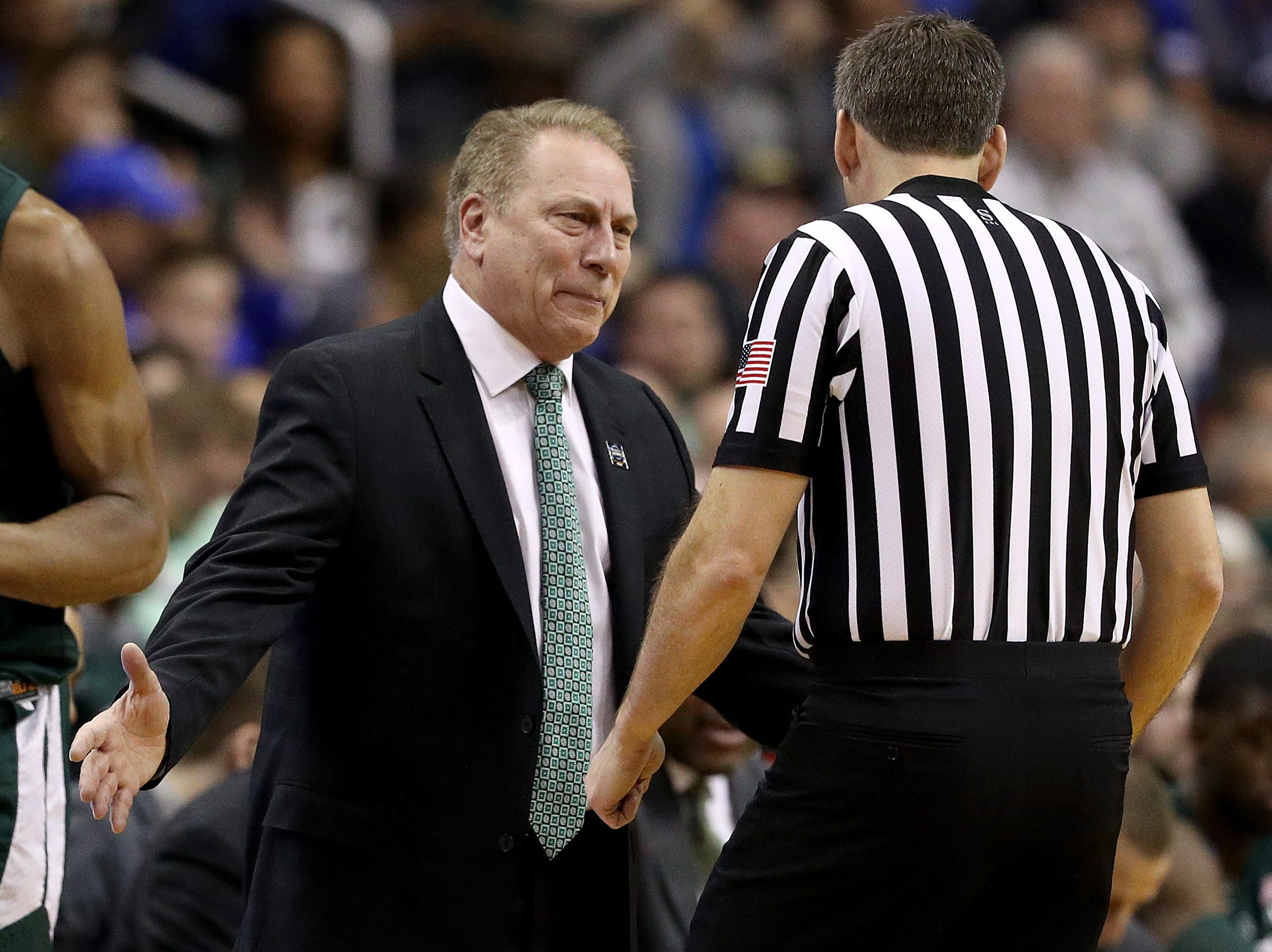 Head coach Tom Izzo of the Michigan State Spartans questions the call by the referee against the Duke Blue Devils during the first half in the East Regional game of the 2019 NCAA Men's Basketball Tournament at Capital One Arena on March 31, 2019 in Washington, DC.