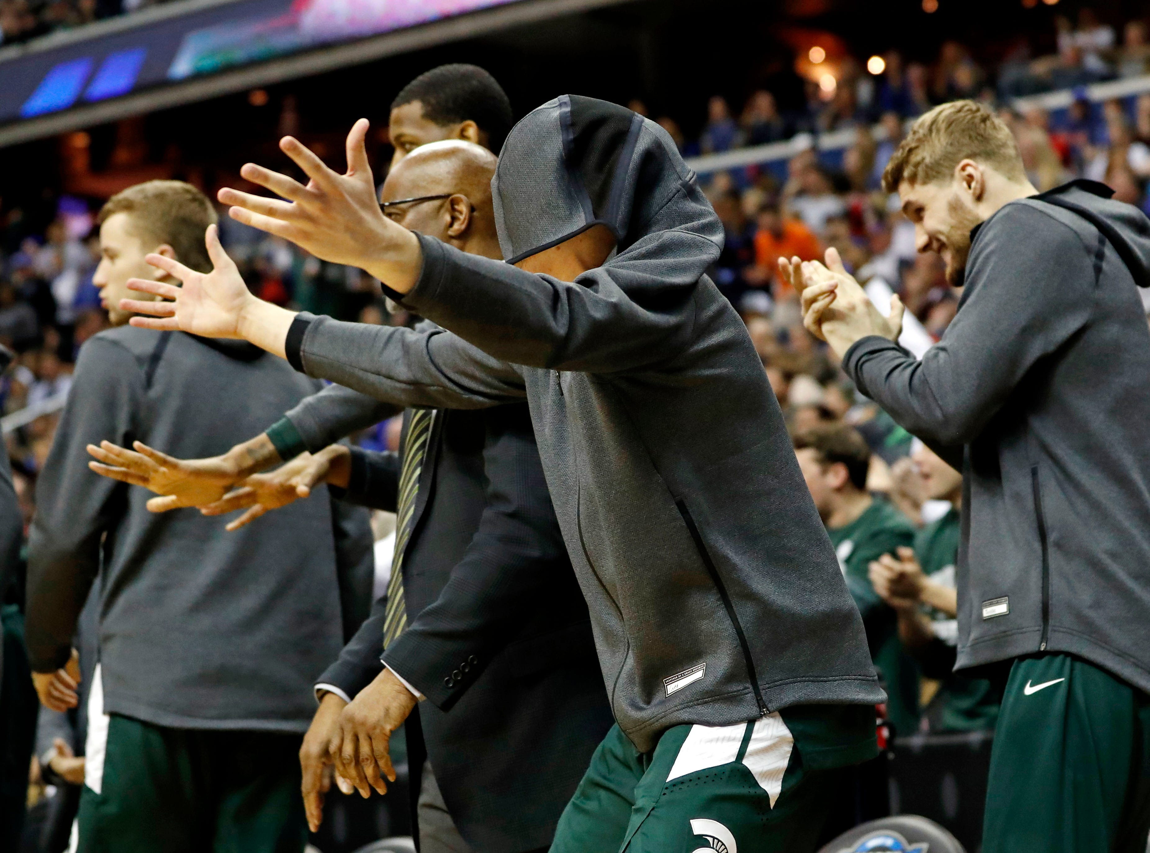 Mar 31, 2019; Washington, DC, USA; The Michigan State Spartans reacts during the second half against the Duke Blue Devils in the championship game of the east regional of the 2019 NCAA Tournament at Capital One Arena. Mandatory Credit: Geoff Burke-USA TODAY Sports