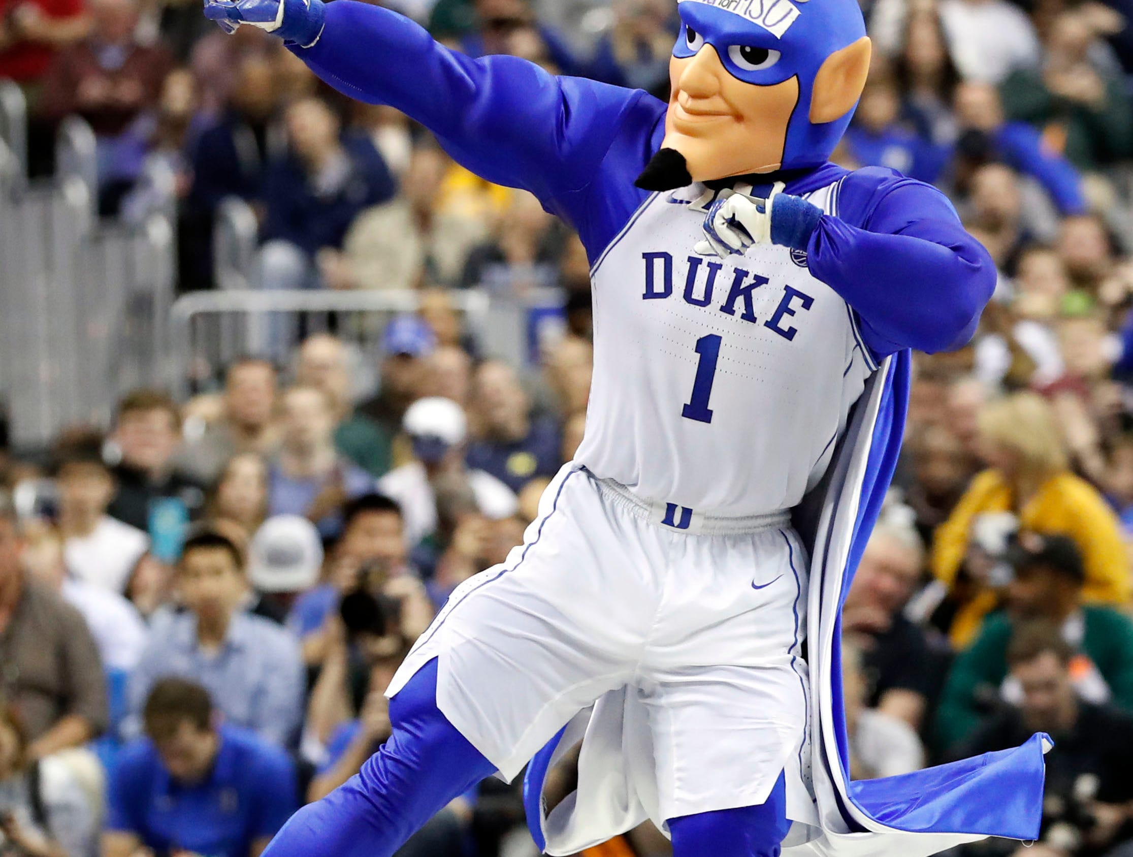 Mar 31, 2019; Washington, DC, USA; The Duke Blue Devils mascot performs during the second half against the Michigan State Spartans in the championship game of the east regional of the 2019 NCAA Tournament at Capital One Arena. Mandatory Credit: Geoff Burke-USA TODAY Sports