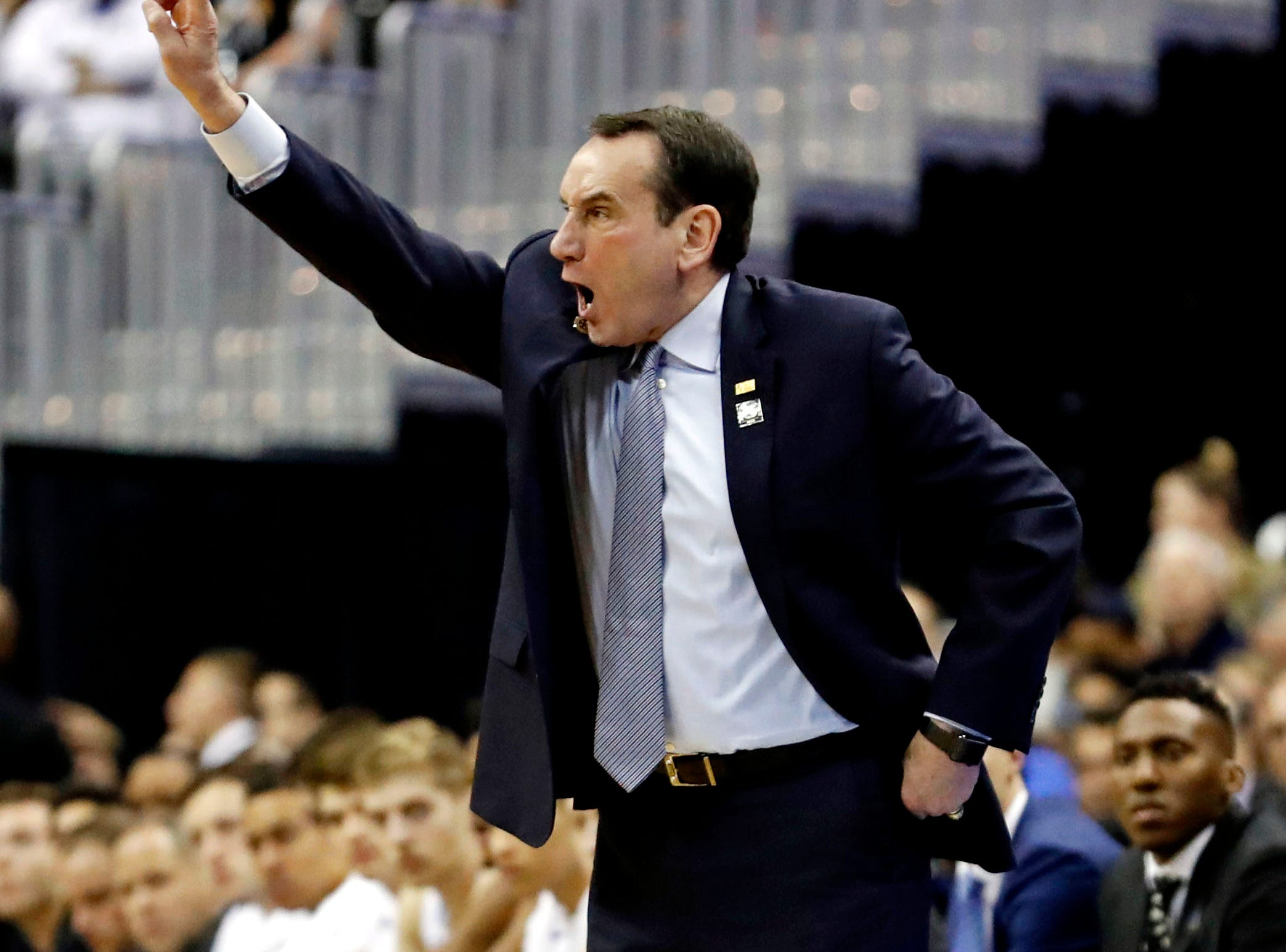 Mar 31, 2019; Washington, DC, USA; Duke Blue Devils head coach Mike Krzyzewski during the first half against the Michigan State Spartans in the championship game of the east regional of the 2019 NCAA Tournament at Capital One Arena. Mandatory Credit: Geoff Burke-USA TODAY Sports