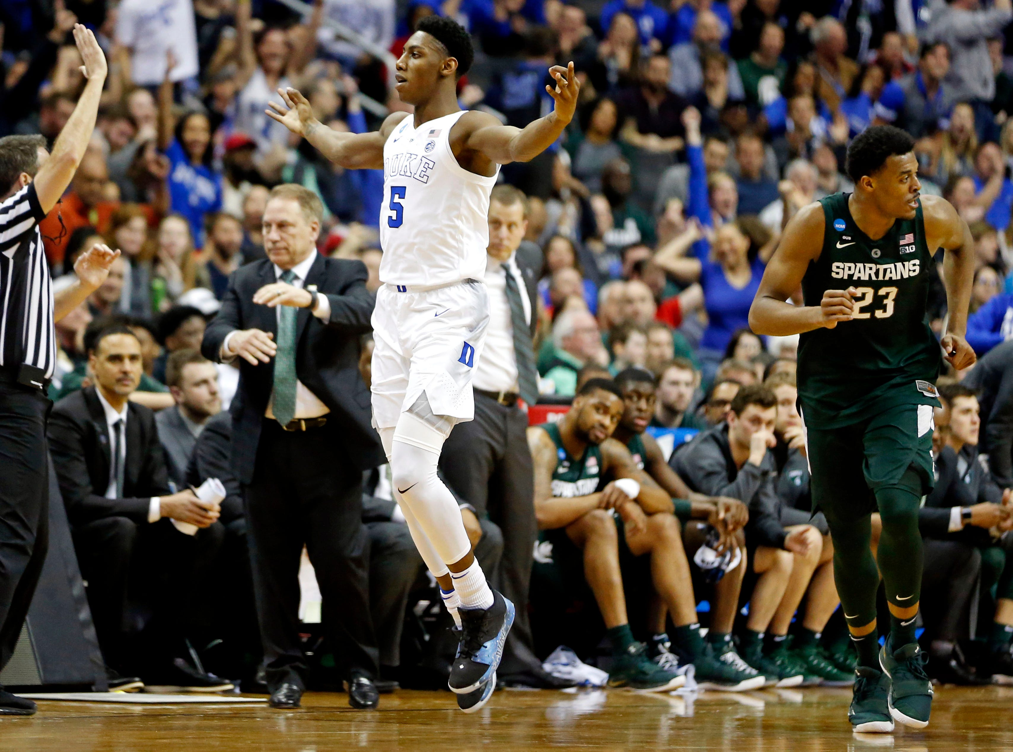 Mar 31, 2019; Washington, DC, USA; Duke Blue Devils forward RJ Barrett (5) races after a basket during the first half against the Michigan State Spartans in the championship game of the east regional of the 2019 NCAA Tournament at Capital One Arena. Mandatory Credit: Amber Searls-USA TODAY Sports