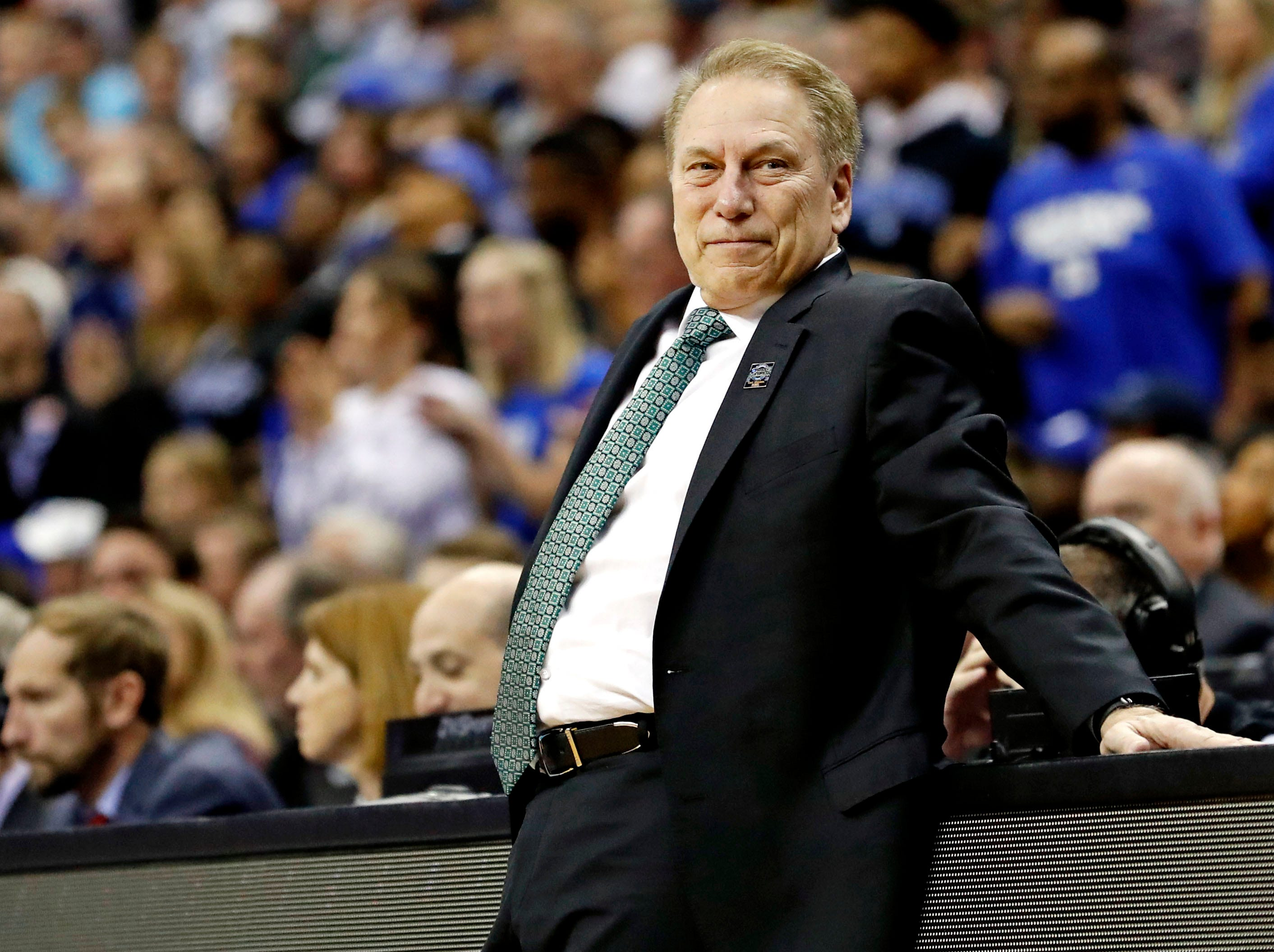 Mar 31, 2019; Washington, DC, USA; Michigan State Spartans head coach Tom Izzo reacts during the second half against the Duke Blue Devils in the championship game of the east regional of the 2019 NCAA Tournament at Capital One Arena. Mandatory Credit: Geoff Burke-USA TODAY Sports
