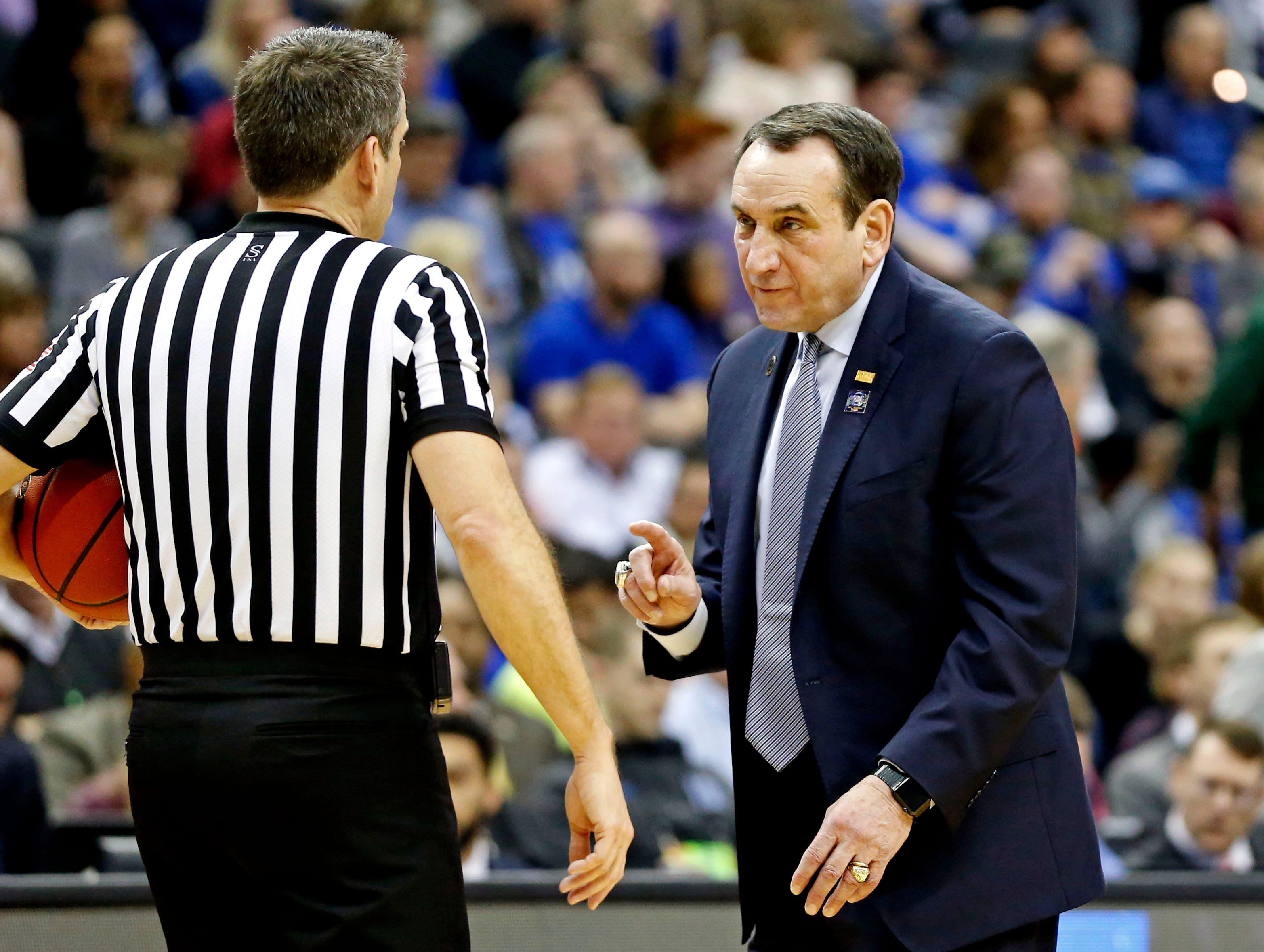 Mar 31, 2019; Washington, DC, USA; Duke Blue Devils head coach Mike Krzyzewski talks with a referee during the second half against the Michigan State Spartans in the championship game of the east regional of the 2019 NCAA Tournament at Capital One Arena. Mandatory Credit: Amber Searls-USA TODAY Sports