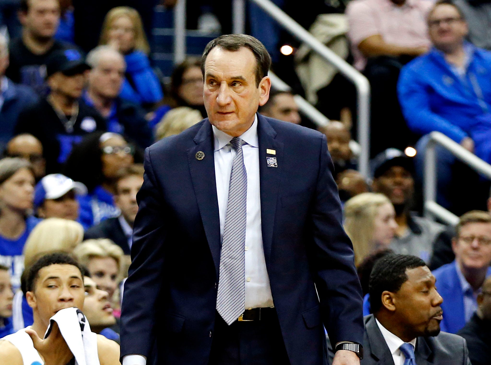Mar 31, 2019; Washington, DC, USA; Duke Blue Devils head coach Mike Krzyzewski during the second half against the Michigan State Spartans in the championship game of the east regional of the 2019 NCAA Tournament at Capital One Arena. Mandatory Credit: Amber Searls-USA TODAY Sports