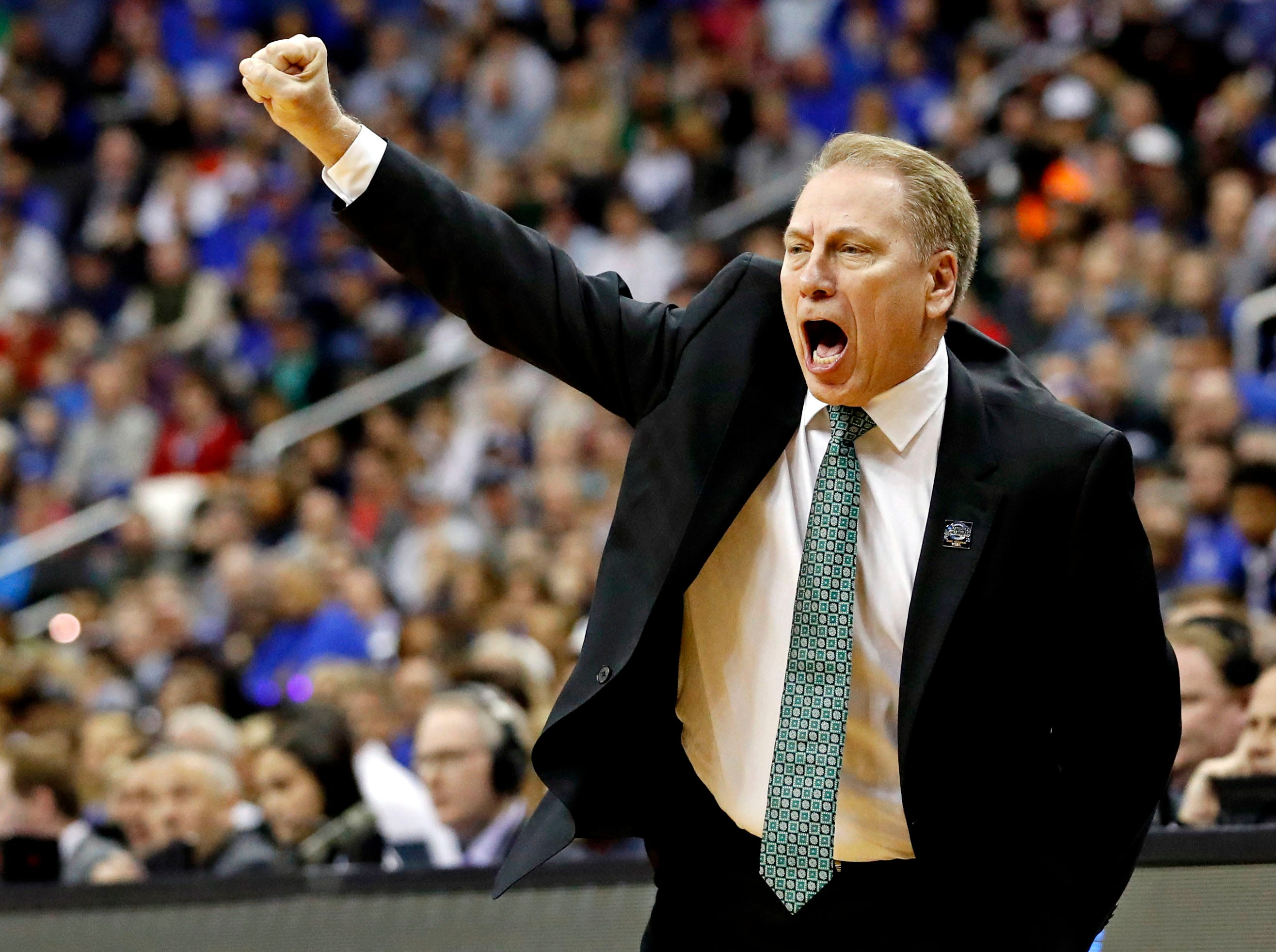 Mar 31, 2019; Washington, DC, USA; Michigan State Spartans head coach Tom Izzo during the first half against the Duke Blue Devils in the championship game of the east regional of the 2019 NCAA Tournament at Capital One Arena. Mandatory Credit: Geoff Burke-USA TODAY Sports