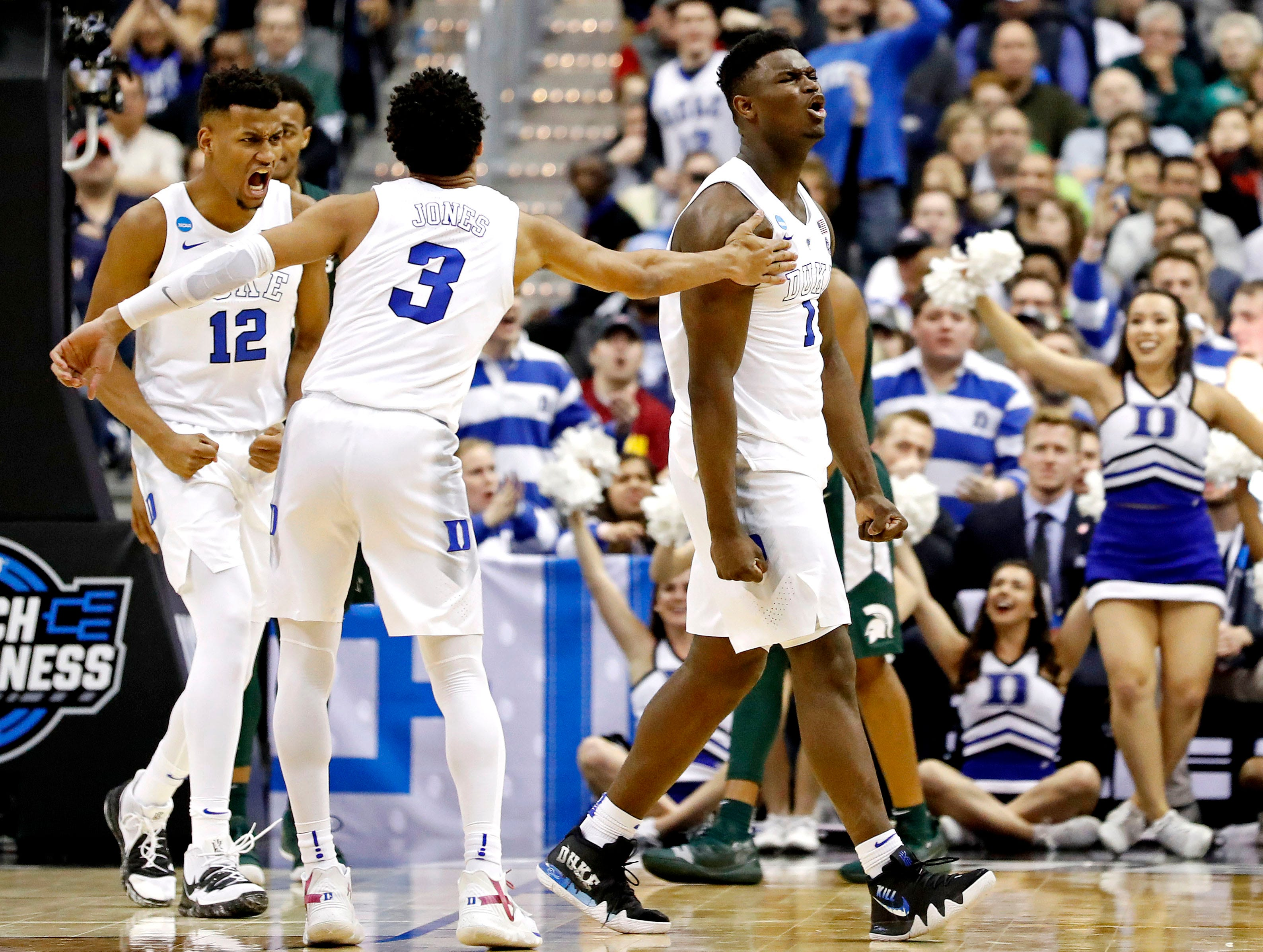 Mar 31, 2019; Washington, DC, USA; Duke Blue Devils forward Zion Williamson (1) reacts after a play during the second half against the Michigan State Spartans in the championship game of the east regional of the 2019 NCAA Tournament at Capital One Arena. Mandatory Credit: Geoff Burke-USA TODAY Sports