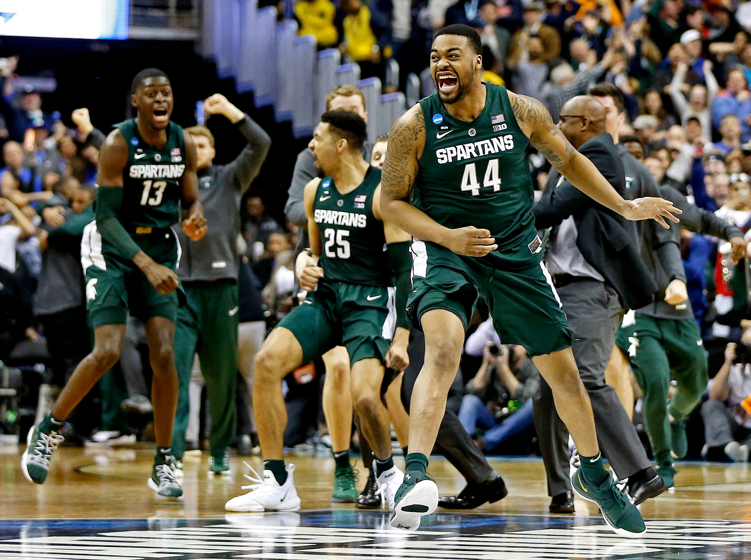 Mar 31, 2019; Washington, DC, USA; Michigan State Spartans forward Nick Ward (44) celebrates after beating the Duke Blue Devils in the championship game of the east regional of the 2019 NCAA Tournament at Capital One Arena. Mandatory Credit: Amber Searls-USA TODAY Sports