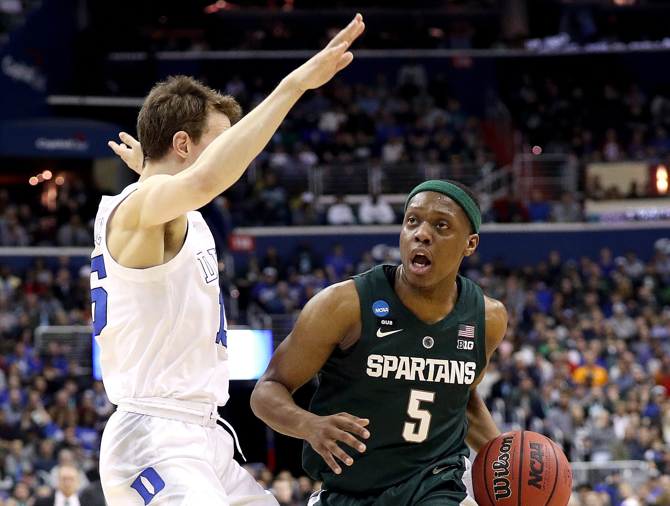Cassius Winston #5 of the Michigan State Spartans drives to the basket against Alex O'Connell #15 of the Duke Blue Devils during the first half in the East Regional game of the 2019 NCAA Men's Basketball Tournament at Capital One Arena on March 31, 2019 in Washington, DC.