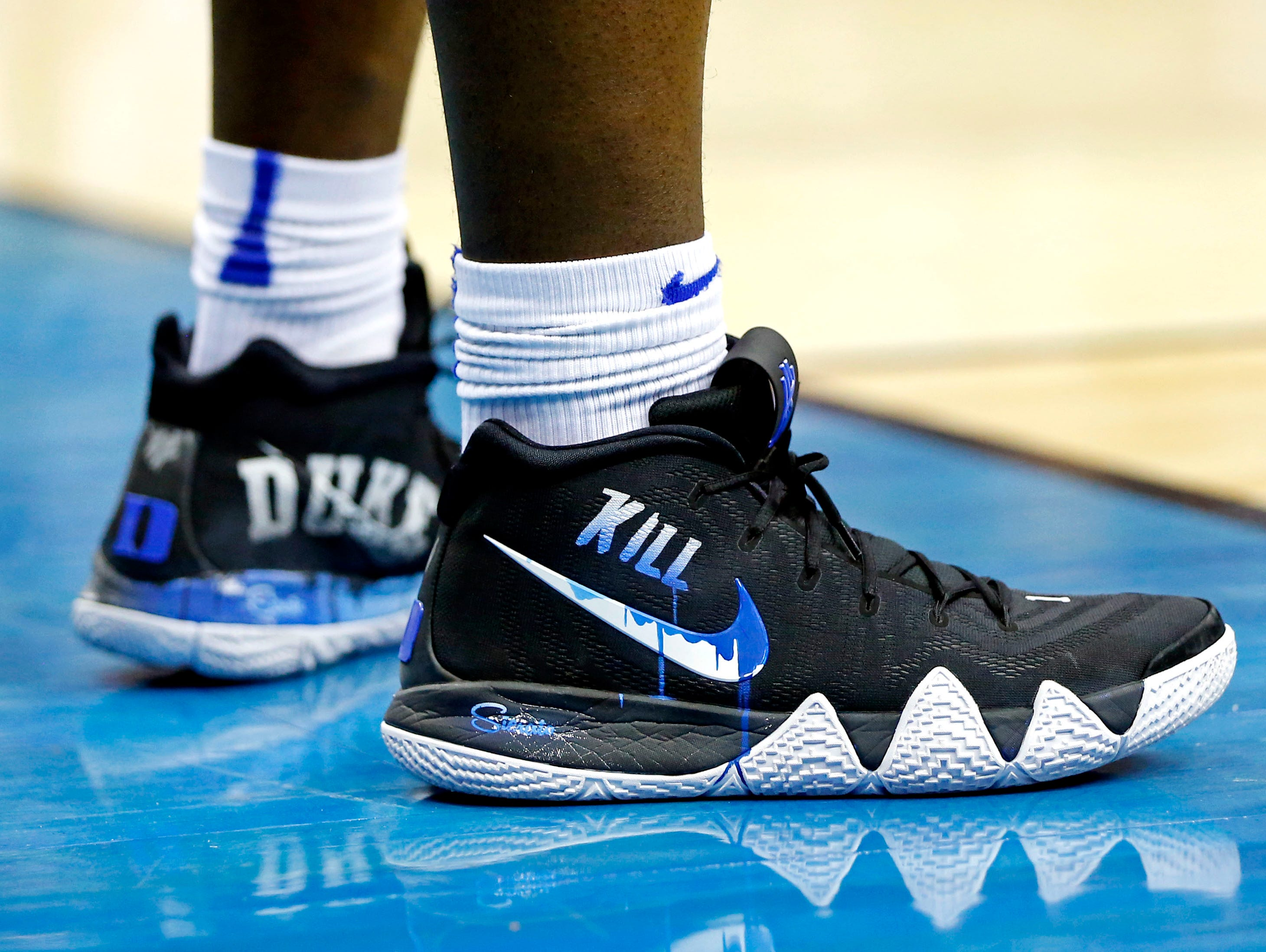 Mar 31, 2019; Washington, DC, USA; A view of the shoes of Duke Blue Devils forward Zion Williamson (1) during the first half against the Michigan State Spartans in the championship game of the east regional of the 2019 NCAA Tournament at Capital One Arena. Mandatory Credit: Amber Searls-USA TODAY Sports