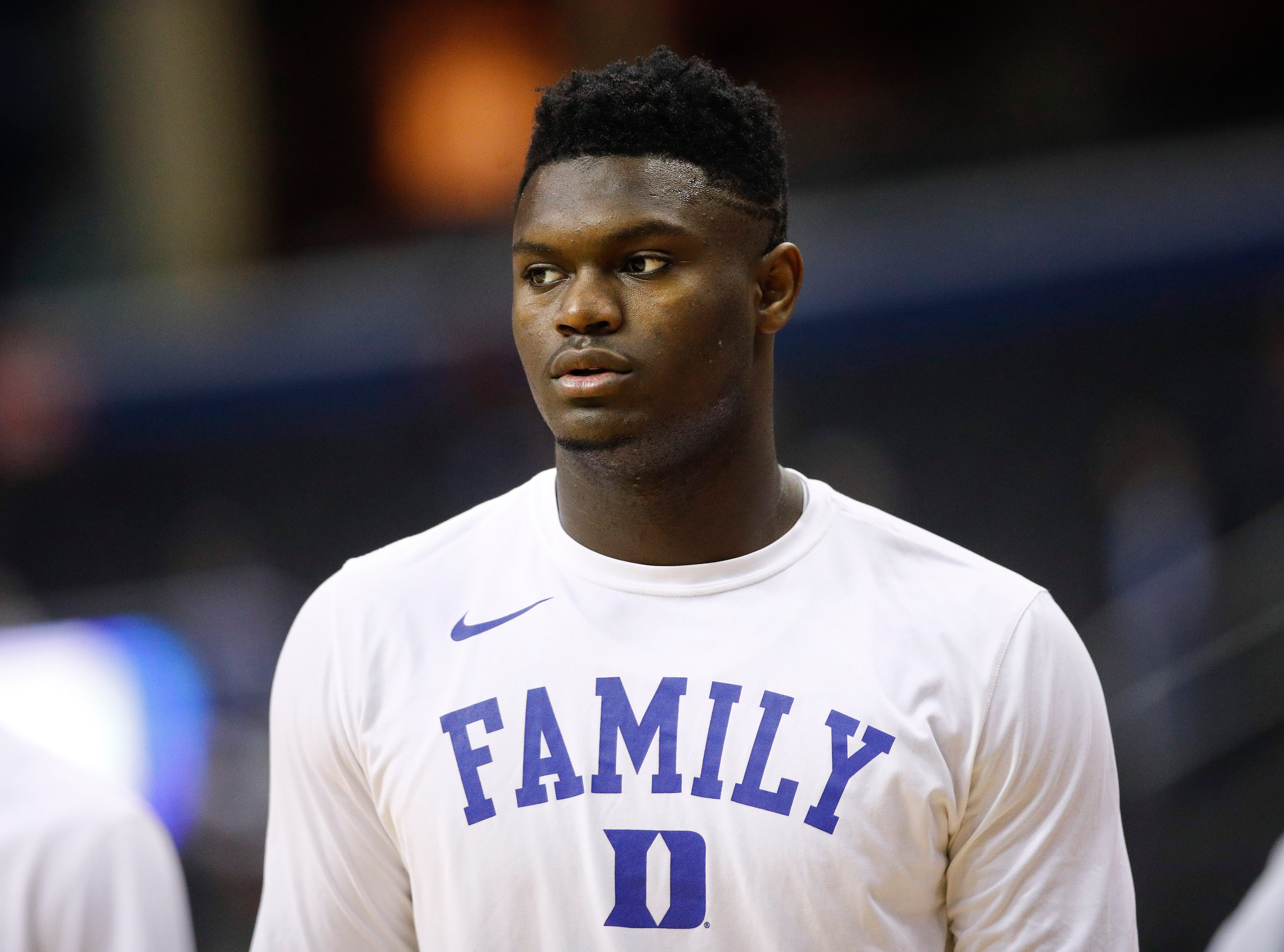 Duke forward Zion Williamson on the court warming up before the start of a NCAA men's East Regional final college basketball game against Michigan State in Washington, Sunday, March 31, 2019.
