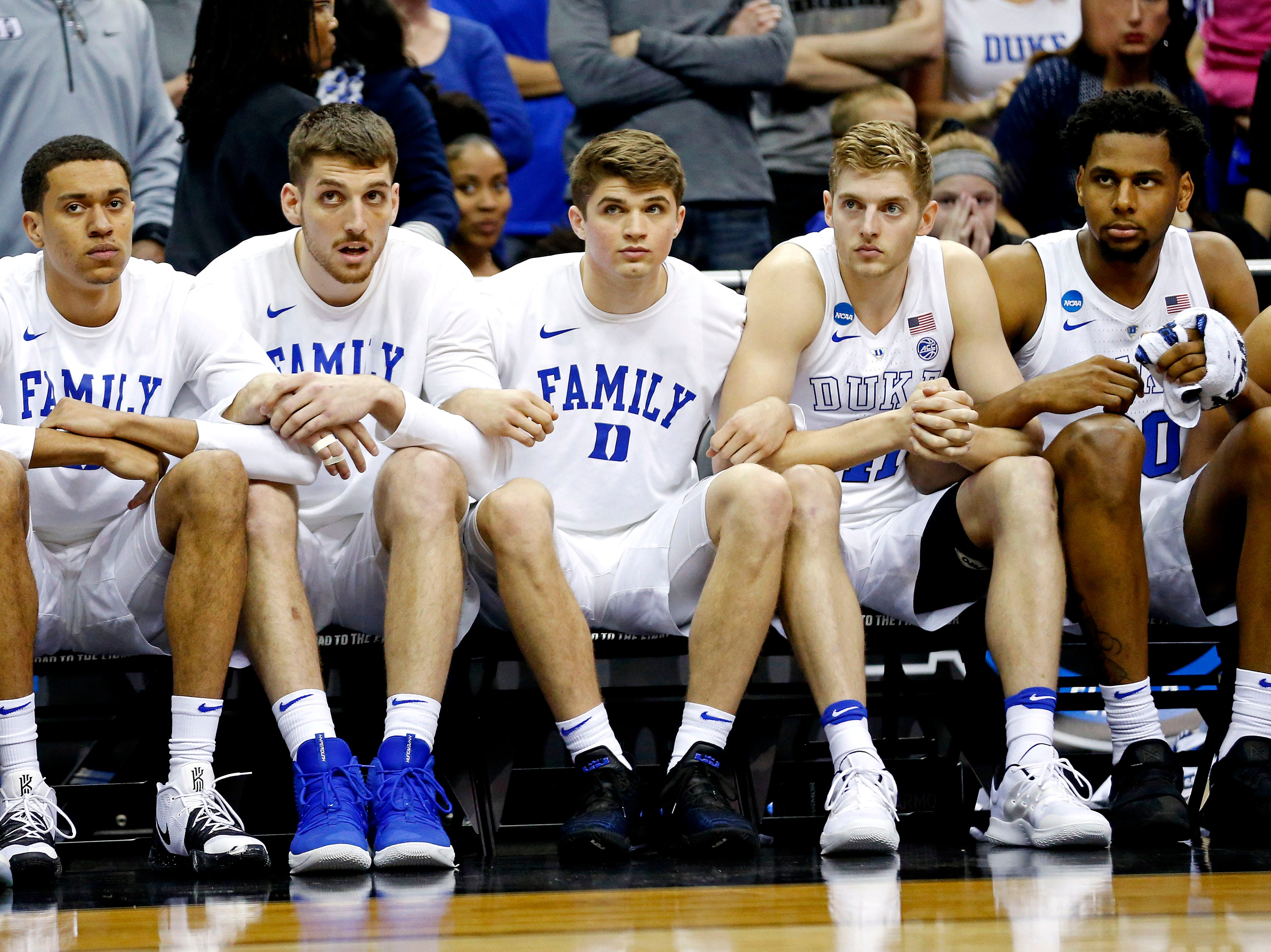 Mar 31, 2019; Washington, DC, USA; The Duke Blue Devils bench reacts during the second half against the Michigan State Spartans in the championship game of the east regional of the 2019 NCAA Tournament at Capital One Arena. Mandatory Credit: Amber Searls-USA TODAY Sports