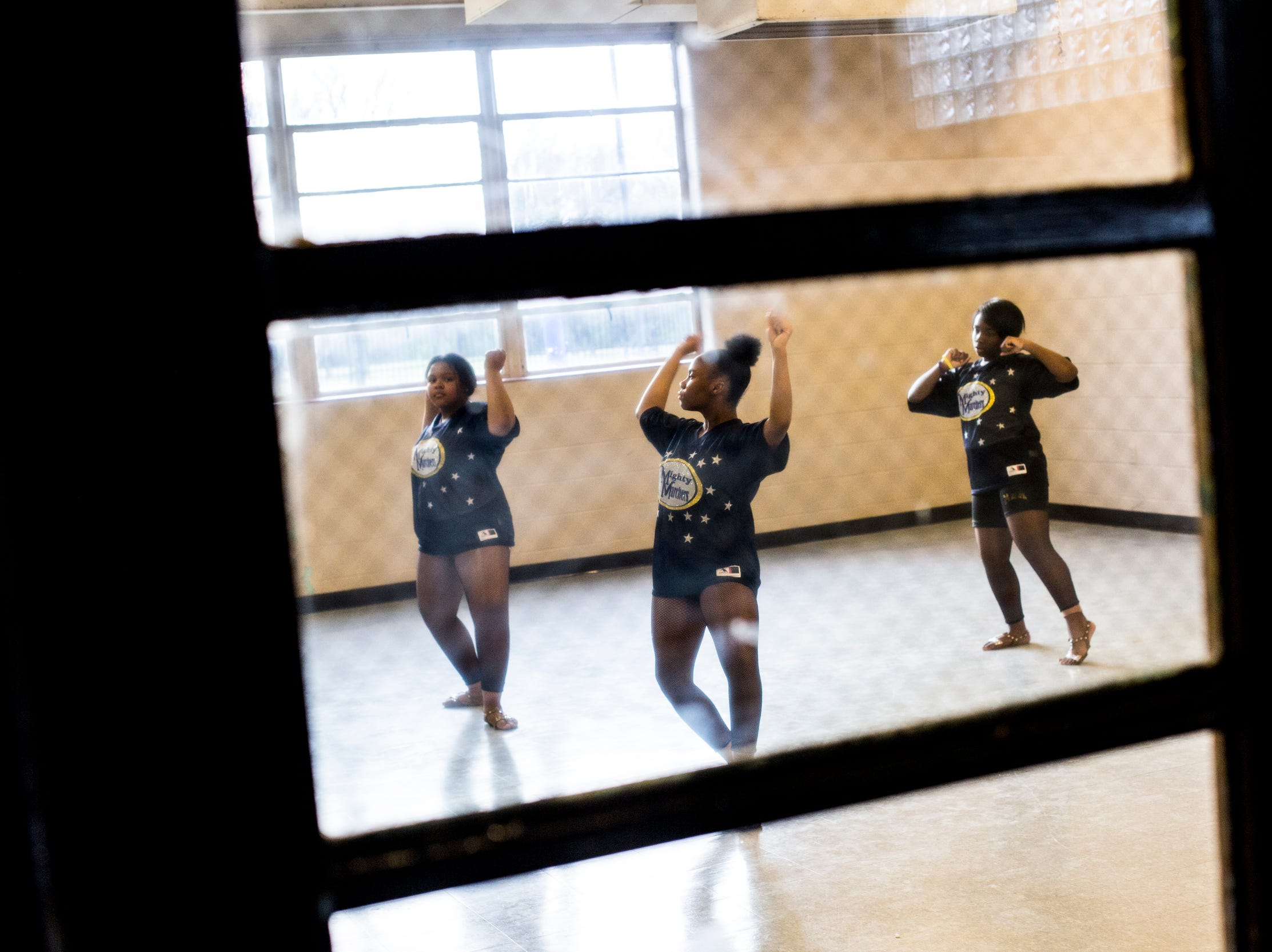Members of the Memphis Community Youth Mighty Marchers work on a dance routine during a practice at the Ed Rice Community Center in Frayser on March 28, 2019.