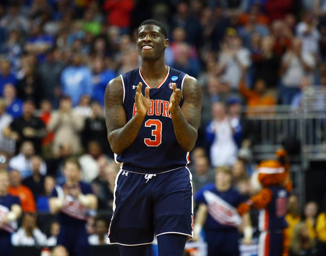 Mar 31, 2019; Kansas City, MO, United States; Auburn Tigers forward Danjel Purifoy (3) reacts against the Kentucky Wildcats during overtime in the championship game of the midwest regional of the 2019 NCAA Tournament at Sprint Center. Mandatory Credit: Jay Biggerstaff-USA TODAY Sports