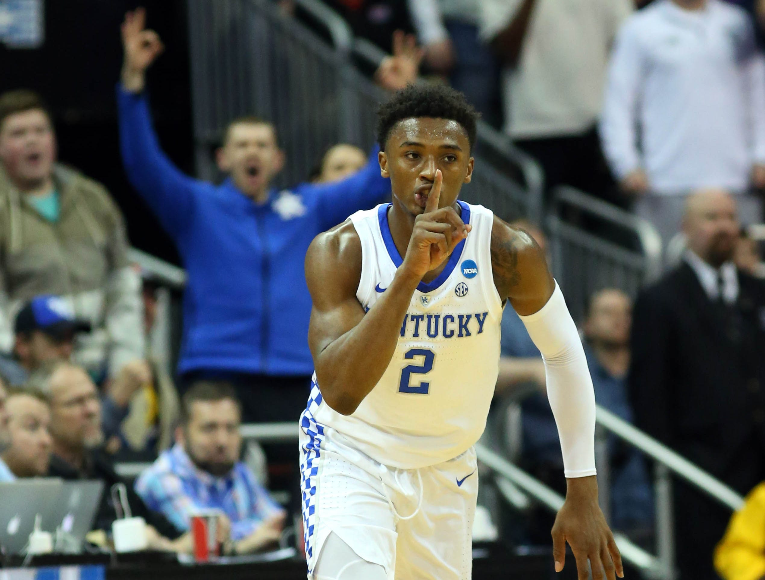 Mar 31, 2019; Kansas City, MO, United States; Kentucky Wildcats guard Ashton Hagans (2) reacts after a three point basket against the Auburn Tigers during the first half in the championship game of the midwest regional of the 2019 NCAA Tournament at Sprint Center. Mandatory Credit: Jay Biggerstaff-USA TODAY Sports