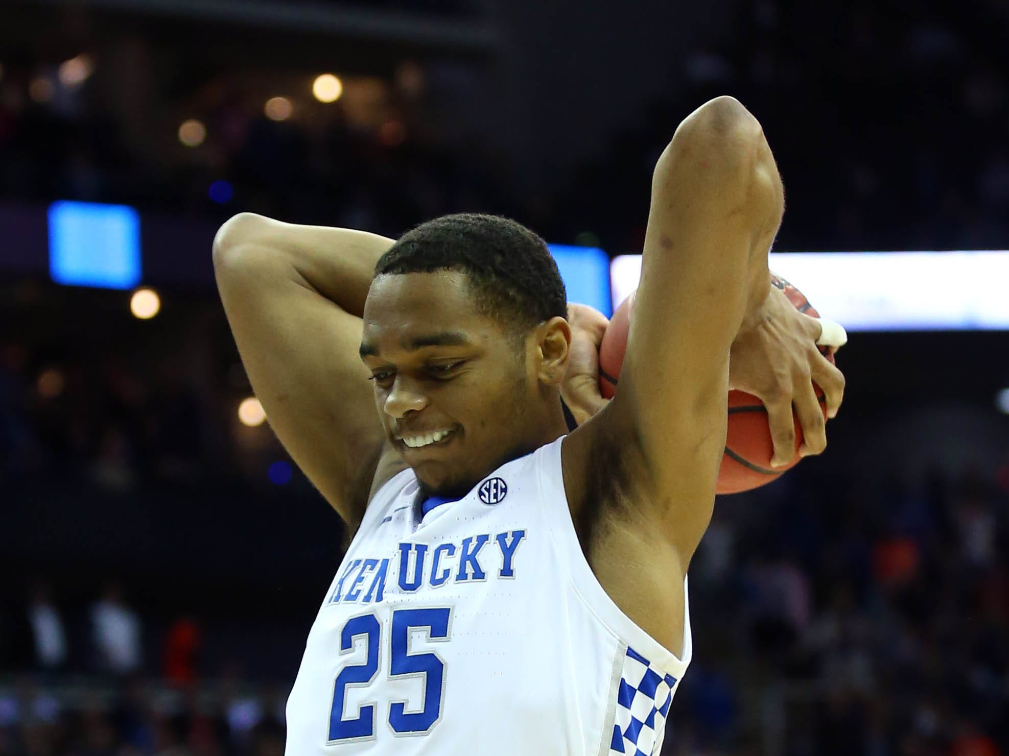 Mar 31, 2019; Kansas City, MO, United States; Kentucky Wildcats forward PJ Washington (25) reacts against the Auburn Tigers during overtime in the championship game of the midwest regional of the 2019 NCAA Tournament at Sprint Center. Mandatory Credit: Jay Biggerstaff-USA TODAY Sports