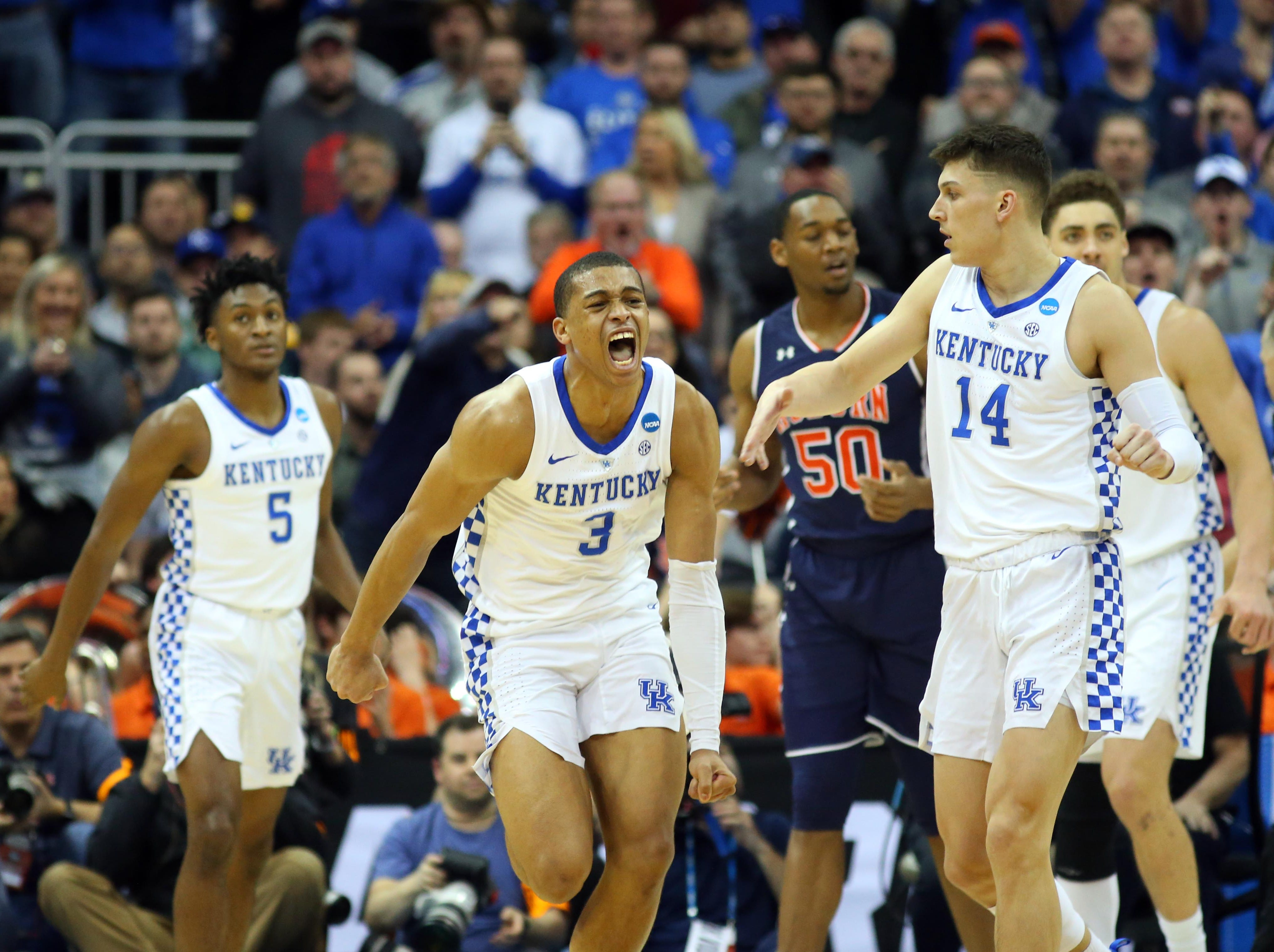 Mar 31, 2019; Kansas City, MO, United States; Kentucky Wildcats guard Keldon Johnson (3) celebrates against the Auburn Tigers during the second half in the championship game of the midwest regional of the 2019 NCAA Tournament at Sprint Center. Mandatory Credit: Jay Biggerstaff-USA TODAY Sports