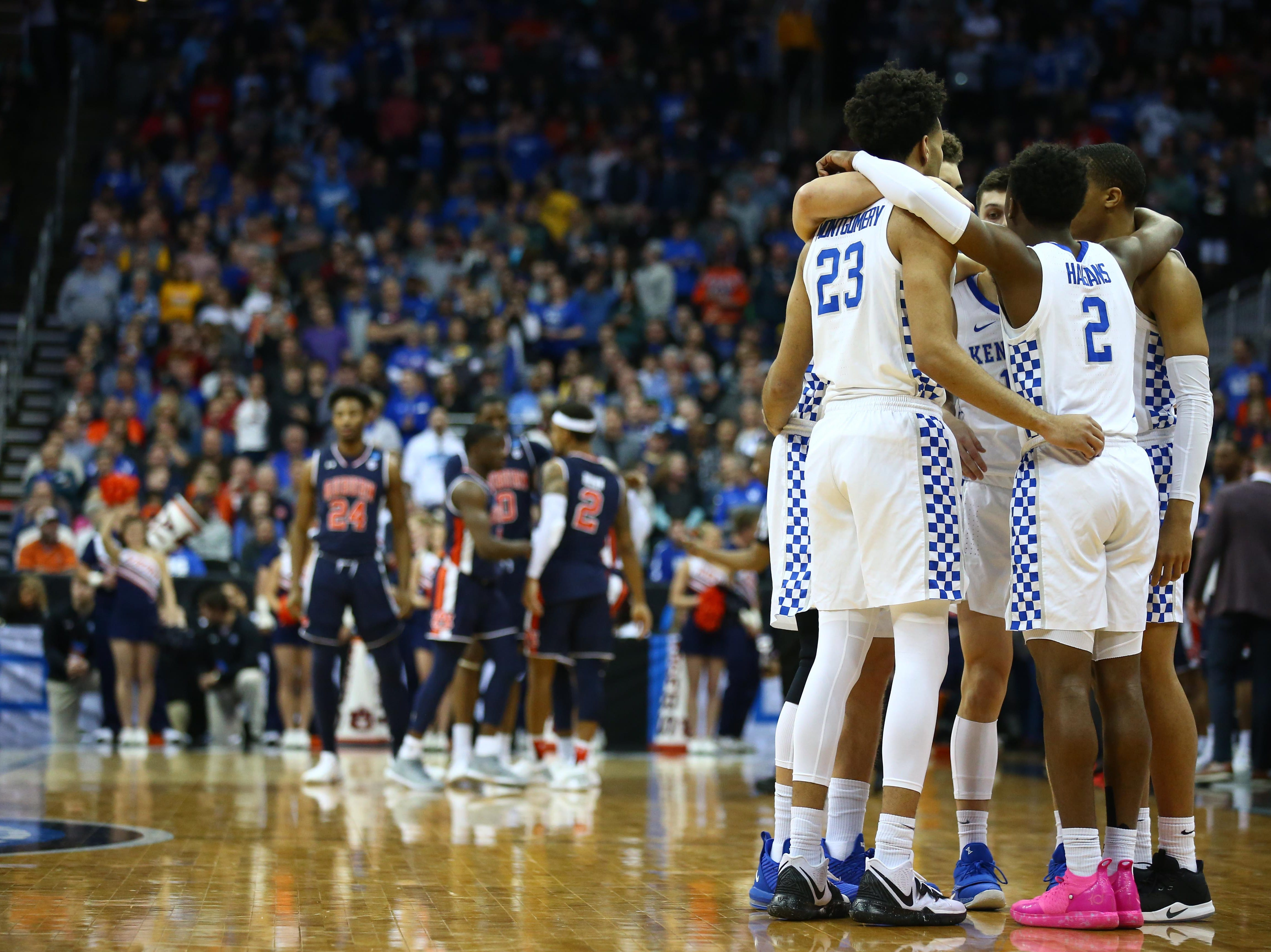 Mar 31, 2019; Kansas City, MO, United States; Kentucky Wildcats players huddle against the Auburn Tigers during the first half in the championship game of the midwest regional of the 2019 NCAA Tournament at Sprint Center. Mandatory Credit: Jay Biggerstaff-USA TODAY Sports