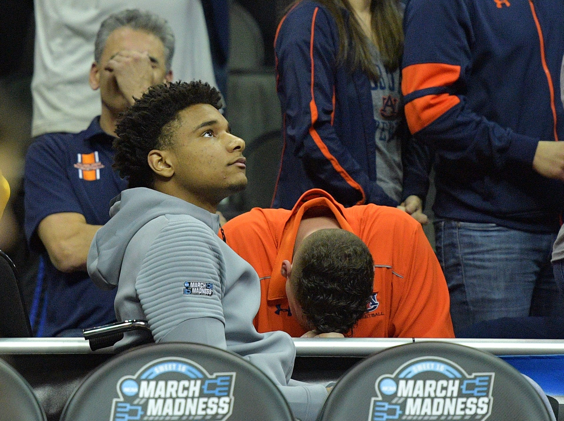 Mar 31, 2019; Kansas City, MO, United States; Auburn Tigers forward Chuma Okeke on the bench during overtime in the championship game of the midwest regional of the 2019 NCAA Tournament against the Kentucky Wildcats at Sprint Center. Mandatory Credit: Denny Medley-USA TODAY Sports