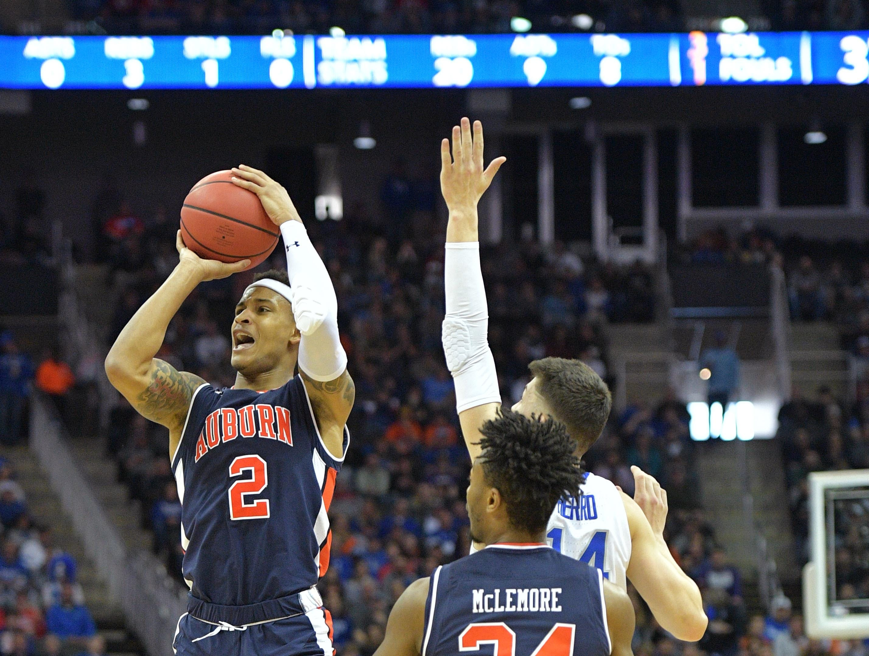 Mar 31, 2019; Kansas City, MO, United States; Auburn Tigers guard Bryce Brown (2) shoots against the Kentucky Wildcats during the second half in the championship game of the midwest regional of the 2019 NCAA Tournament at Sprint Center. Mandatory Credit: Denny Medley-USA TODAY Sports