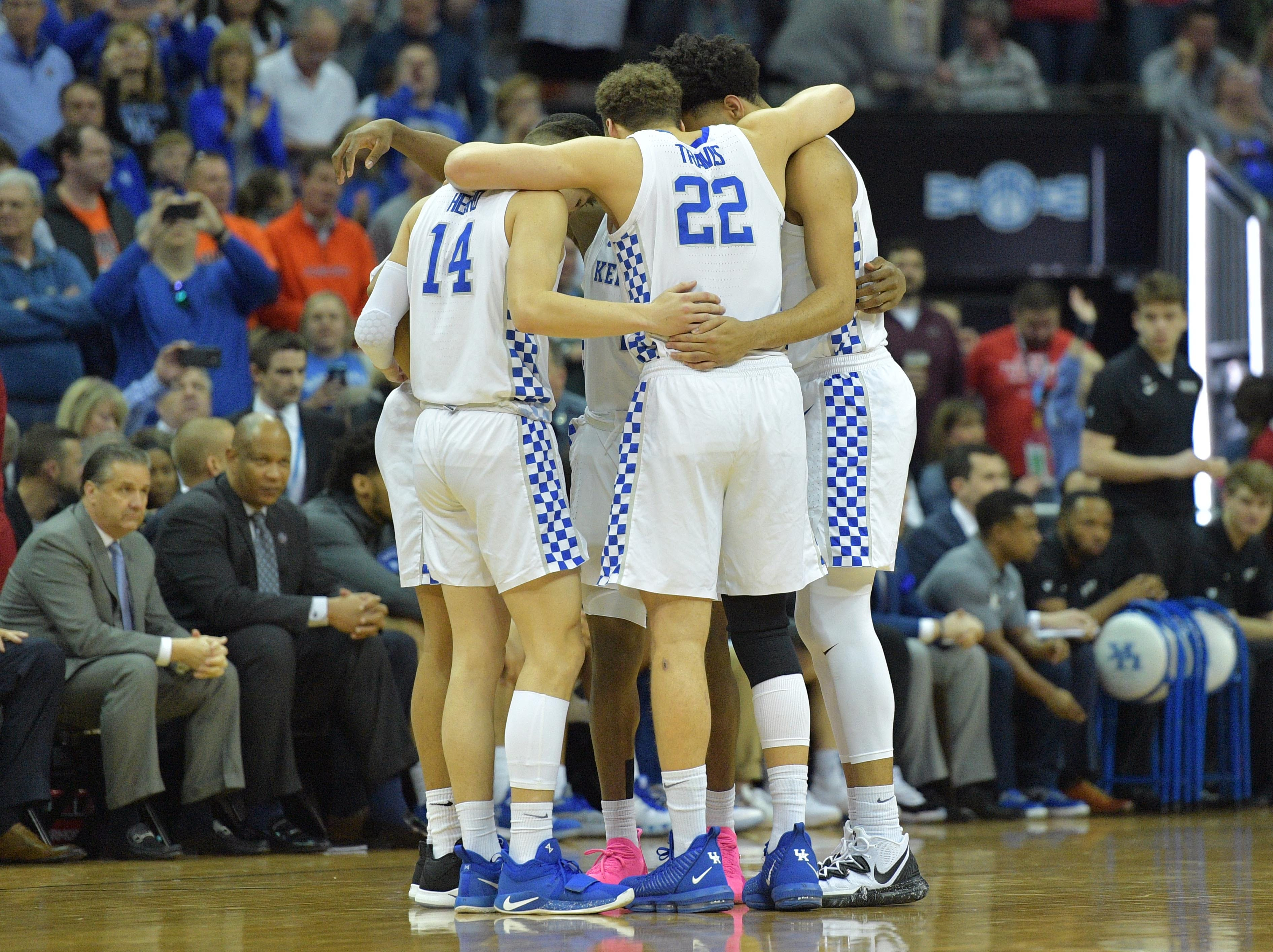 Mar 31, 2019; Kansas City, MO, United States; Kentucky Wildcats players huddle against the Auburn Tigers during the first half in the championship game of the midwest regional of the 2019 NCAA Tournament at Sprint Center. Mandatory Credit: Denny Medley-USA TODAY Sports