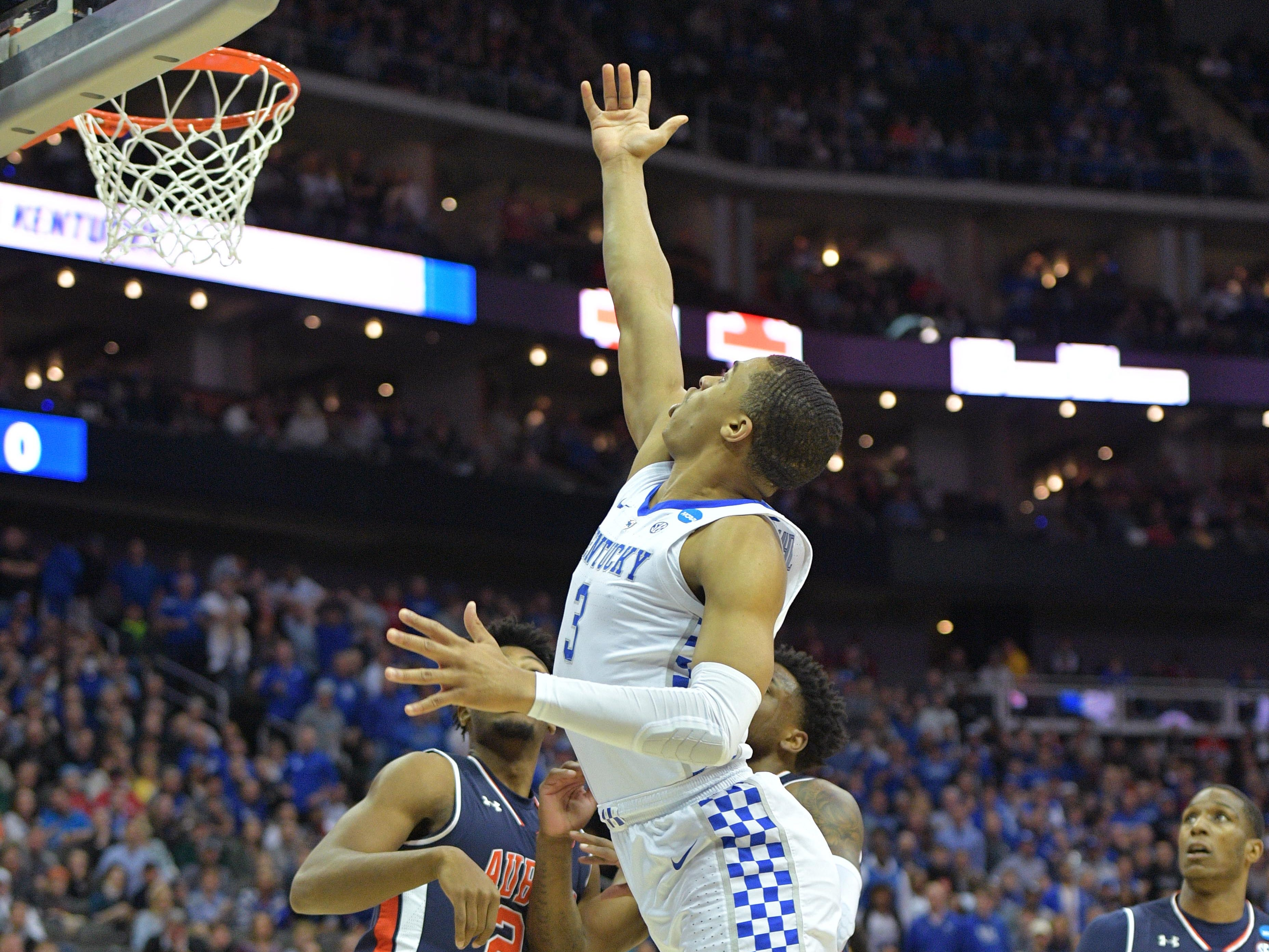 Mar 31, 2019; Kansas City, MO, United States; Kentucky Wildcats guard Keldon Johnson (3) shoots against the Auburn Tigers during the first half in the championship game of the midwest regional of the 2019 NCAA Tournament at Sprint Center. Mandatory Credit: Denny Medley-USA TODAY Sports