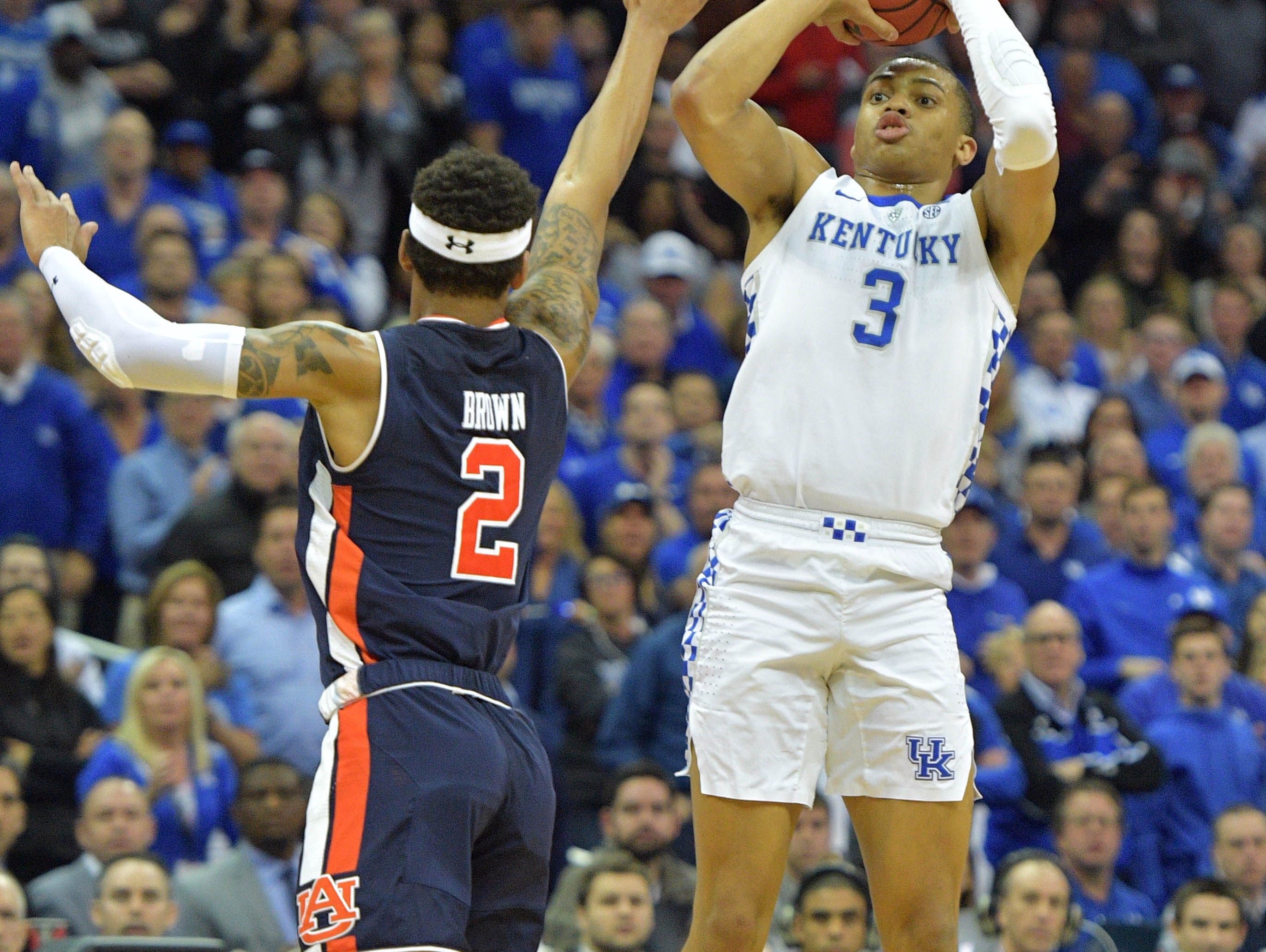 Mar 31, 2019; Kansas City, MO, United States; Kentucky Wildcats guard Keldon Johnson (3) shoots over Auburn Tigers guard Bryce Brown (2) during the first half in the championship game of the midwest regional of the 2019 NCAA Tournament at Sprint Center. Mandatory Credit: Denny Medley-USA TODAY Sports