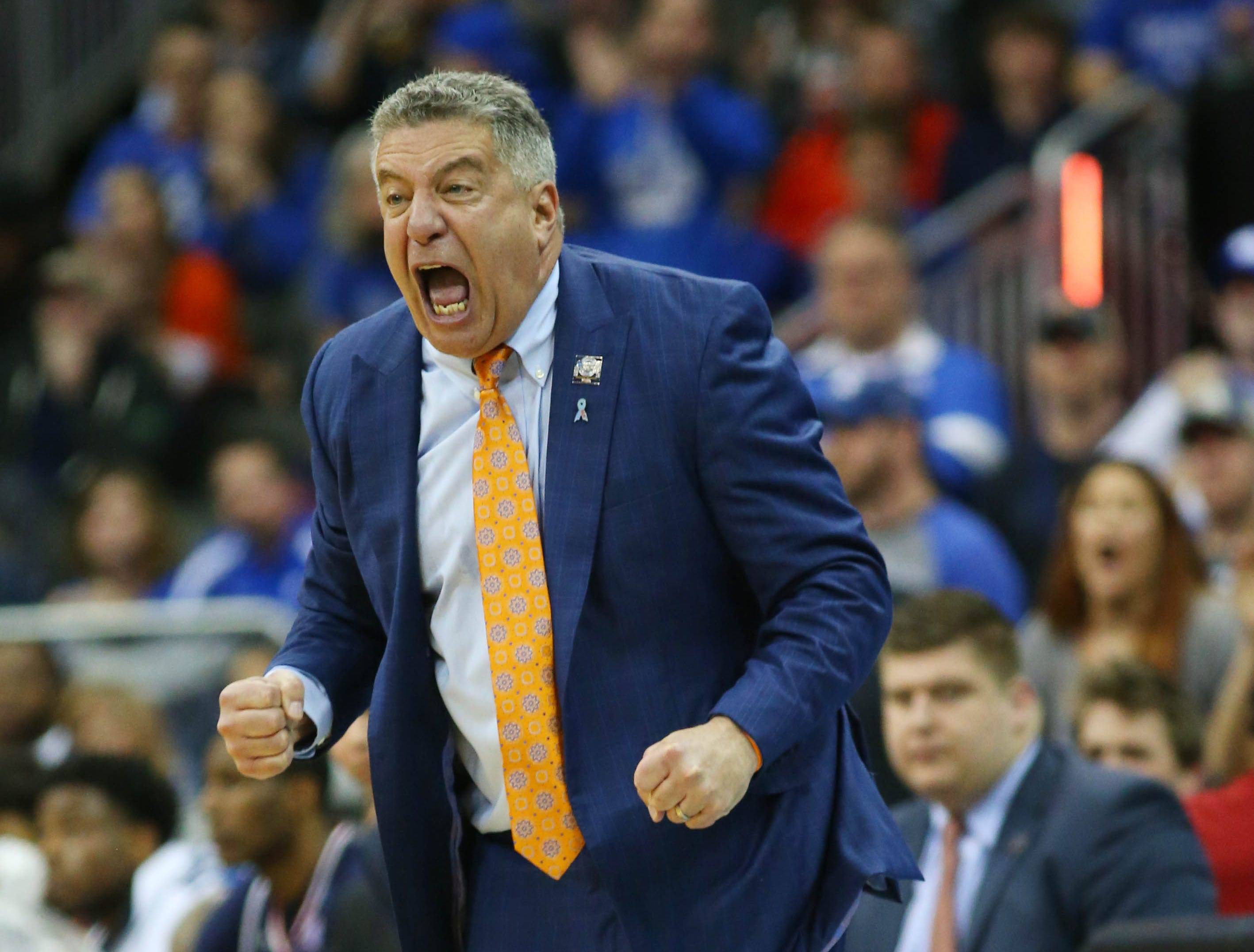 Mar 31, 2019; Kansas City, MO, United States; Auburn Tigers head coach Bruce Pearl reacts against the Kentucky Wildcats during the second half in the championship game of the midwest regional of the 2019 NCAA Tournament at Sprint Center. Mandatory Credit: Jay Biggerstaff-USA TODAY Sports