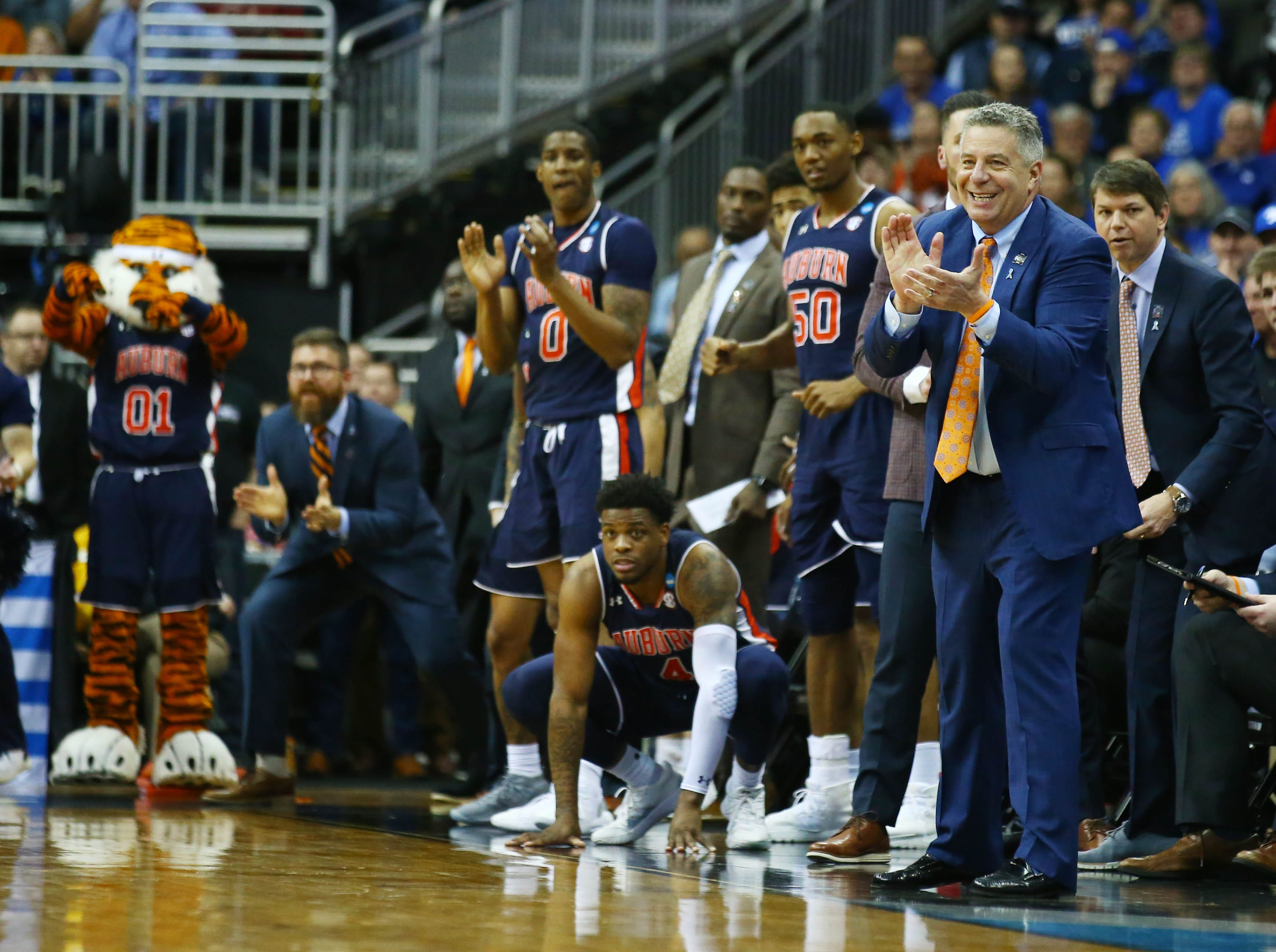 Mar 31, 2019; Kansas City, MO, United States; Auburn Tigers head coach Bruce Pearl reacts against the Kentucky Wildcats during the first half in the championship game of the midwest regional of the 2019 NCAA Tournament at Sprint Center. Mandatory Credit: Jay Biggerstaff-USA TODAY Sports