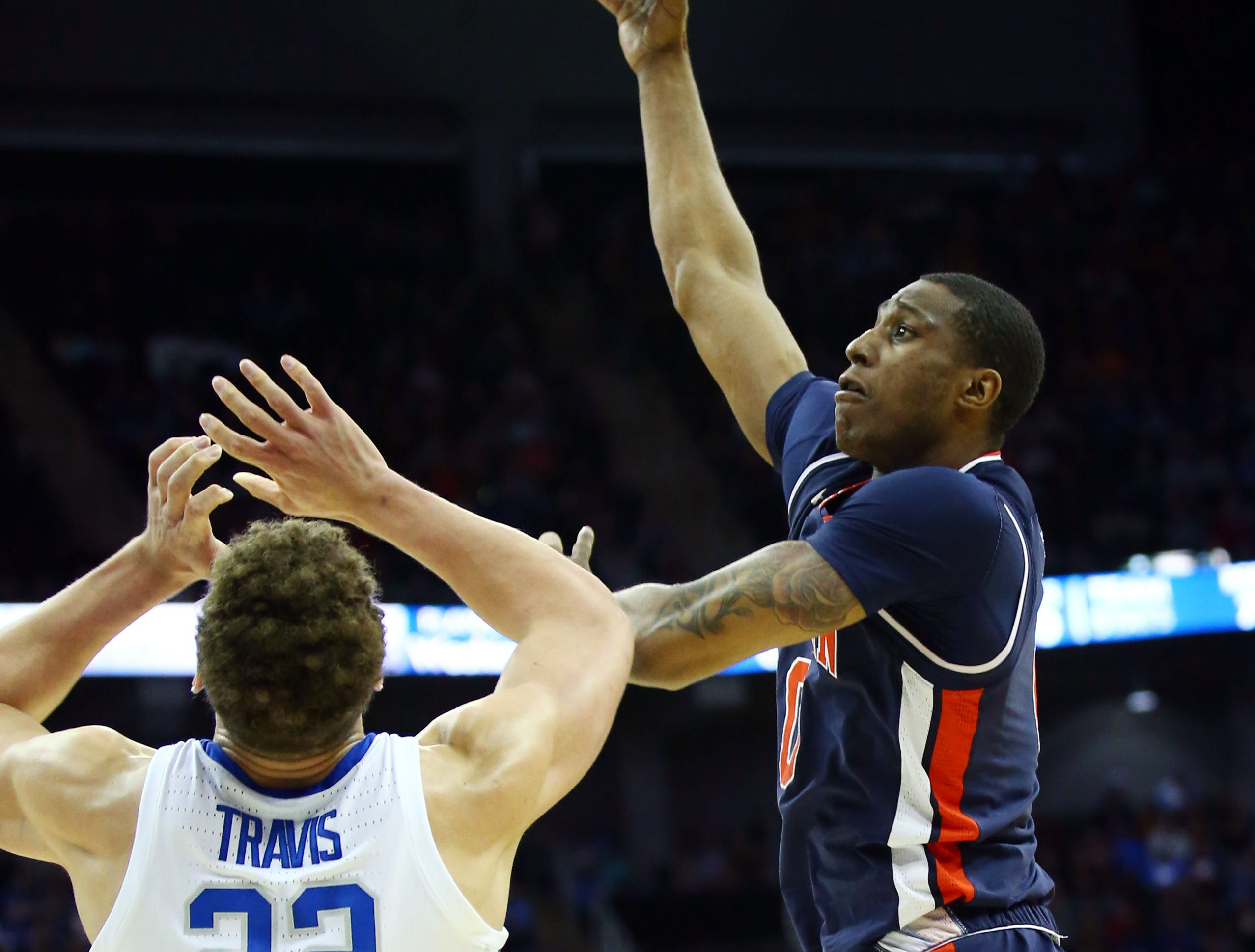 Mar 31, 2019; Kansas City, MO, United States; Auburn Tigers forward Horace Spencer (0) shoots over Kentucky Wildcats forward Reid Travis (22) during the first half in the championship game of the midwest regional of the 2019 NCAA Tournament at Sprint Center. Mandatory Credit: Jay Biggerstaff-USA TODAY Sports