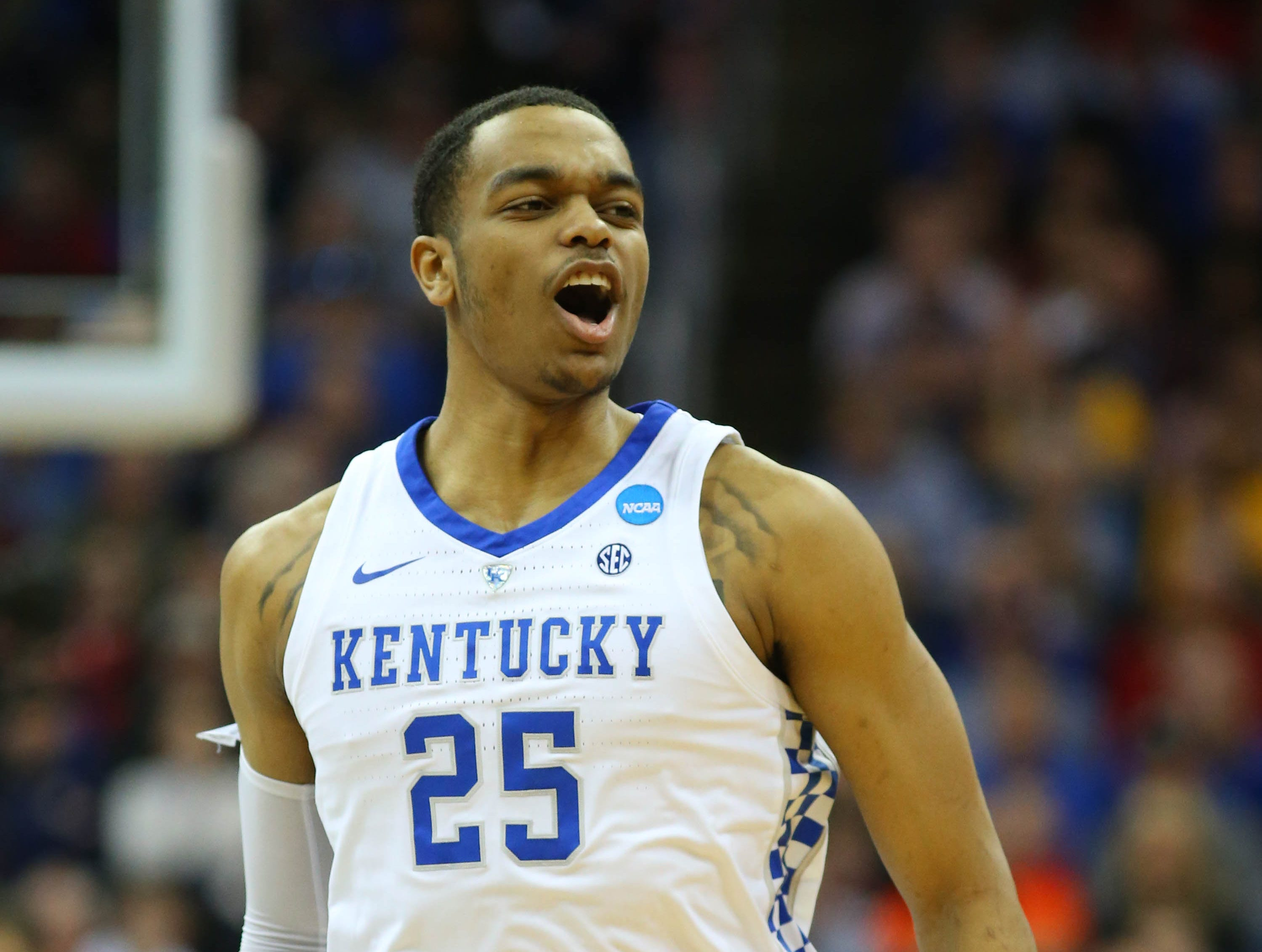 Mar 31, 2019; Kansas City, MO, United States; Kentucky Wildcats forward PJ Washington (25) reacts against the Auburn Tigers during the first half in the championship game of the midwest regional of the 2019 NCAA Tournament at Sprint Center. Mandatory Credit: Jay Biggerstaff-USA TODAY Sports