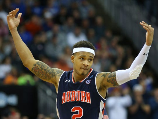 Mar 31, 2019; Kansas City, MO, United States; Auburn Tigers guard Bryce Brown (2) reacts against the Kentucky Wildcats during the second half in the championship game of the midwest regional of the 2019 NCAA Tournament at Sprint Center. Mandatory Credit: Jay Biggerstaff-USA TODAY Sports