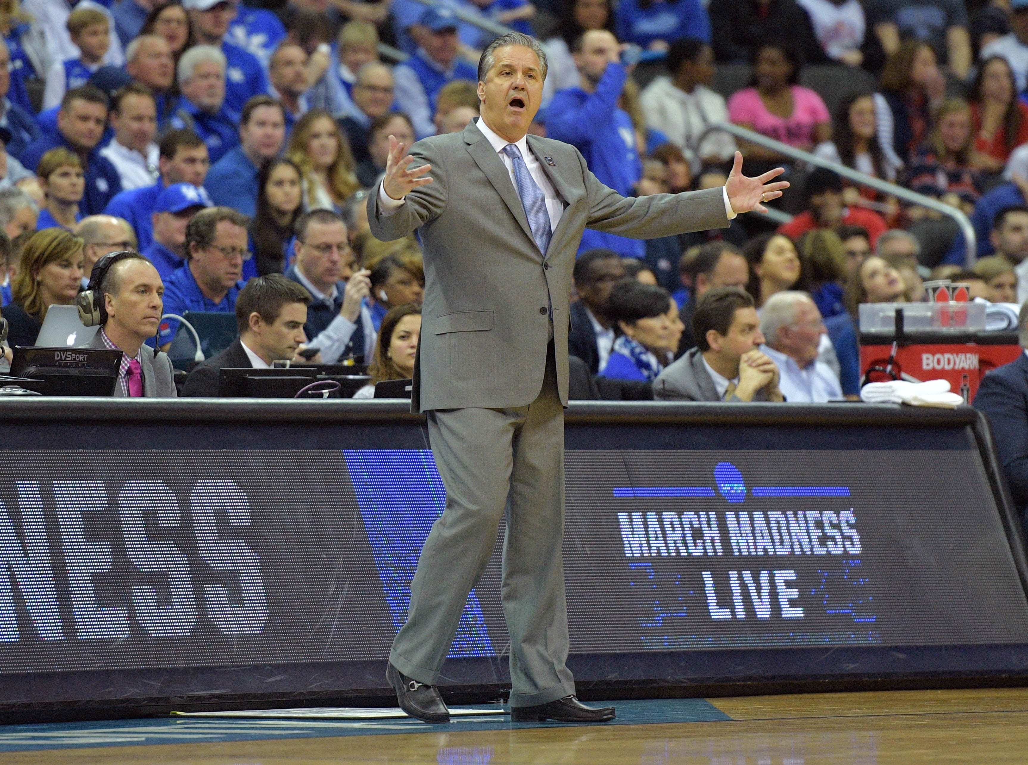 Mar 31, 2019; Kansas City, MO, United States; Kentucky Wildcats head coach John Calipari reacts against the Auburn Tigers during the first half in the championship game of the midwest regional of the 2019 NCAA Tournament at Sprint Center. Mandatory Credit: Denny Medley-USA TODAY Sports