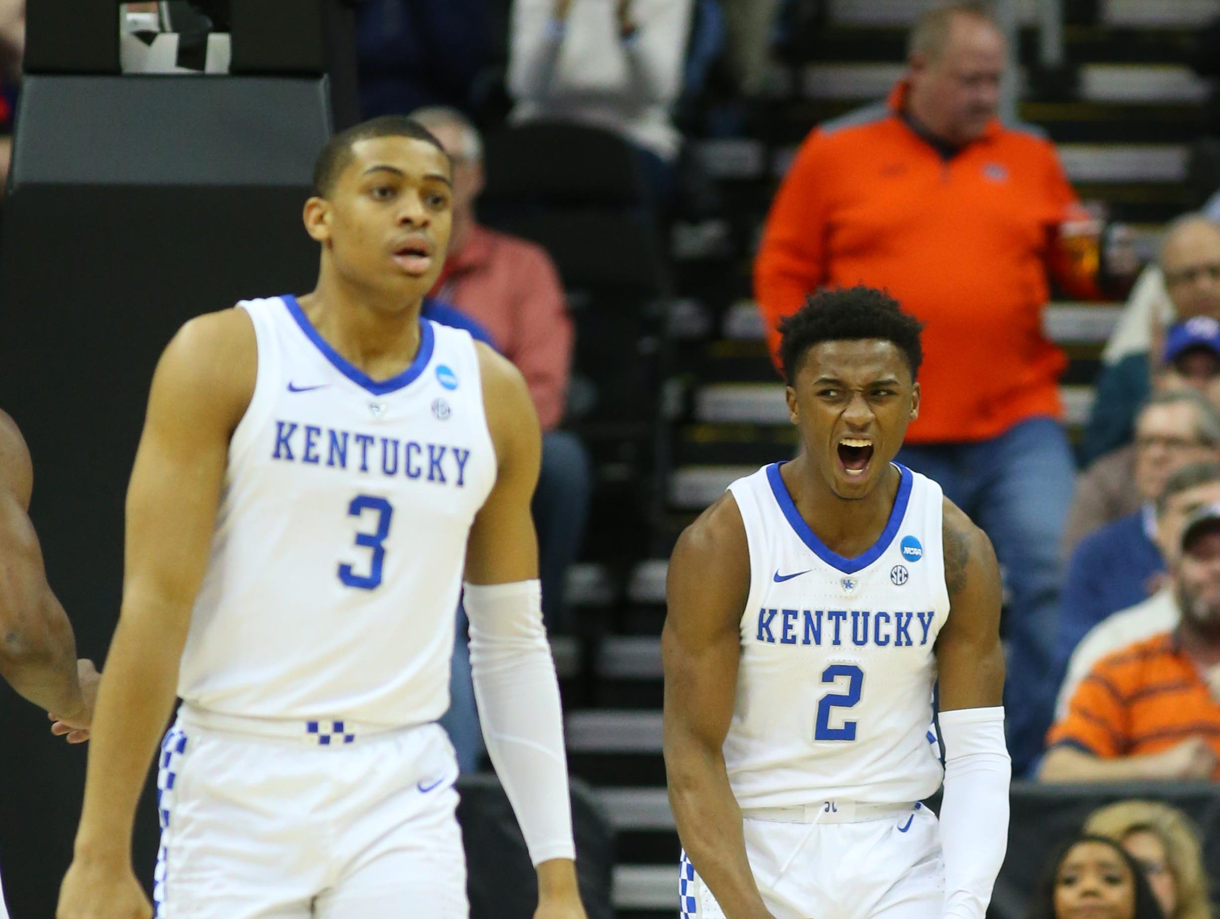 Mar 31, 2019; Kansas City, MO, United States; Kentucky Wildcats guard Ashton Hagans (2) celebrates against the Auburn Tigers during the first half in the championship game of the midwest regional of the 2019 NCAA Tournament at Sprint Center. Mandatory Credit: Jay Biggerstaff-USA TODAY Sports