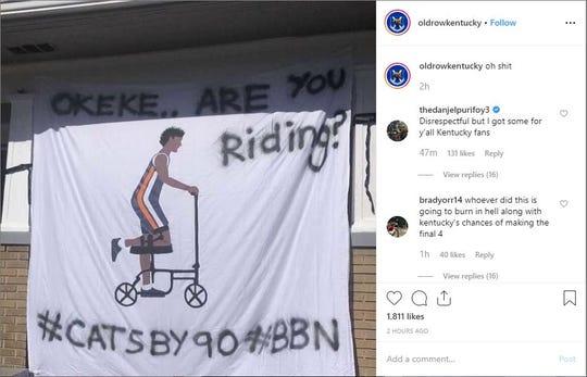 Auburn men's basketball player Danjel Purifoy's Instagram account replied to a post mocking Auburn's Chuma Okeke.